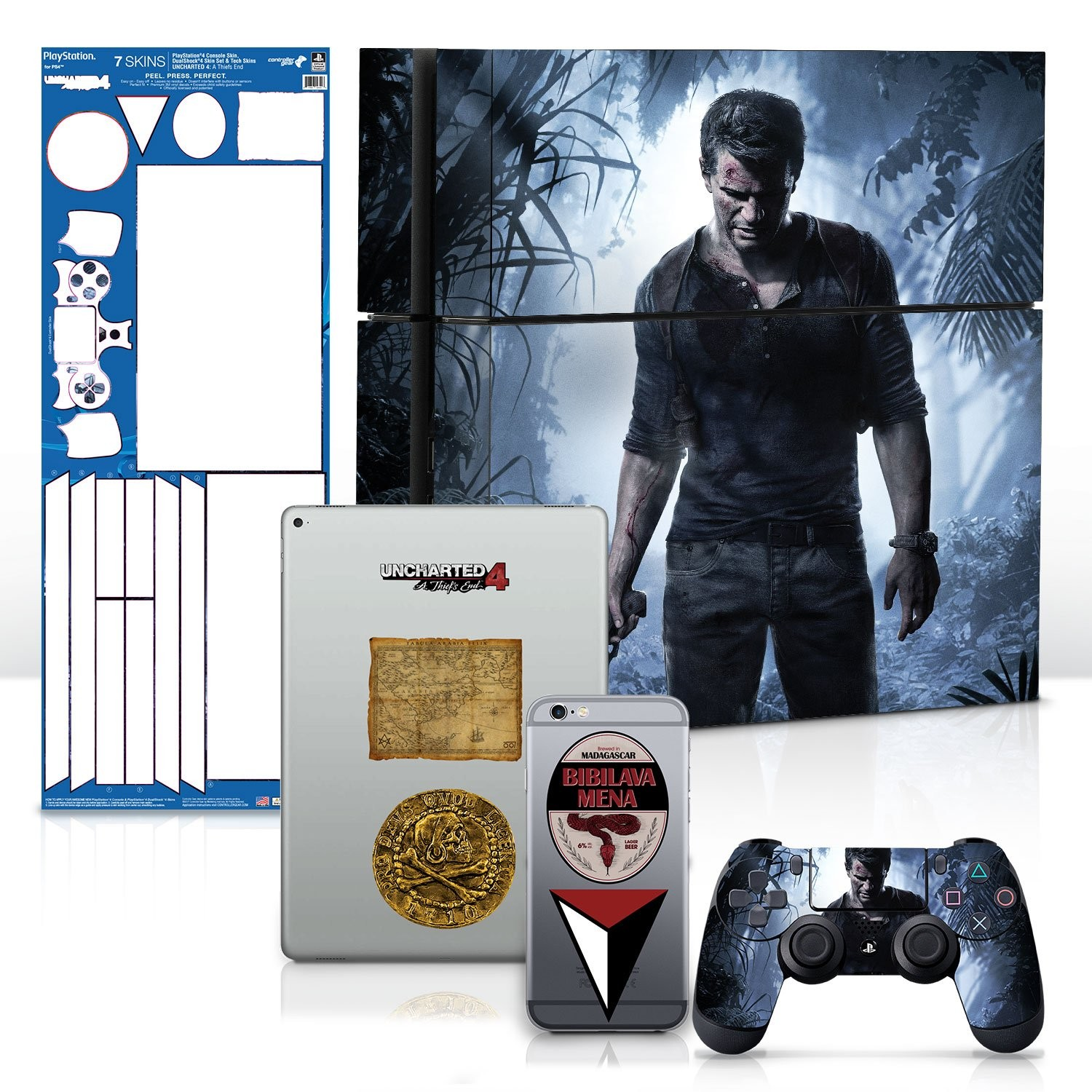Uncharted 4 A Thief's End - PS4 Console and Controller Gaming Skin Pack - Officially Licensed by PlayStation