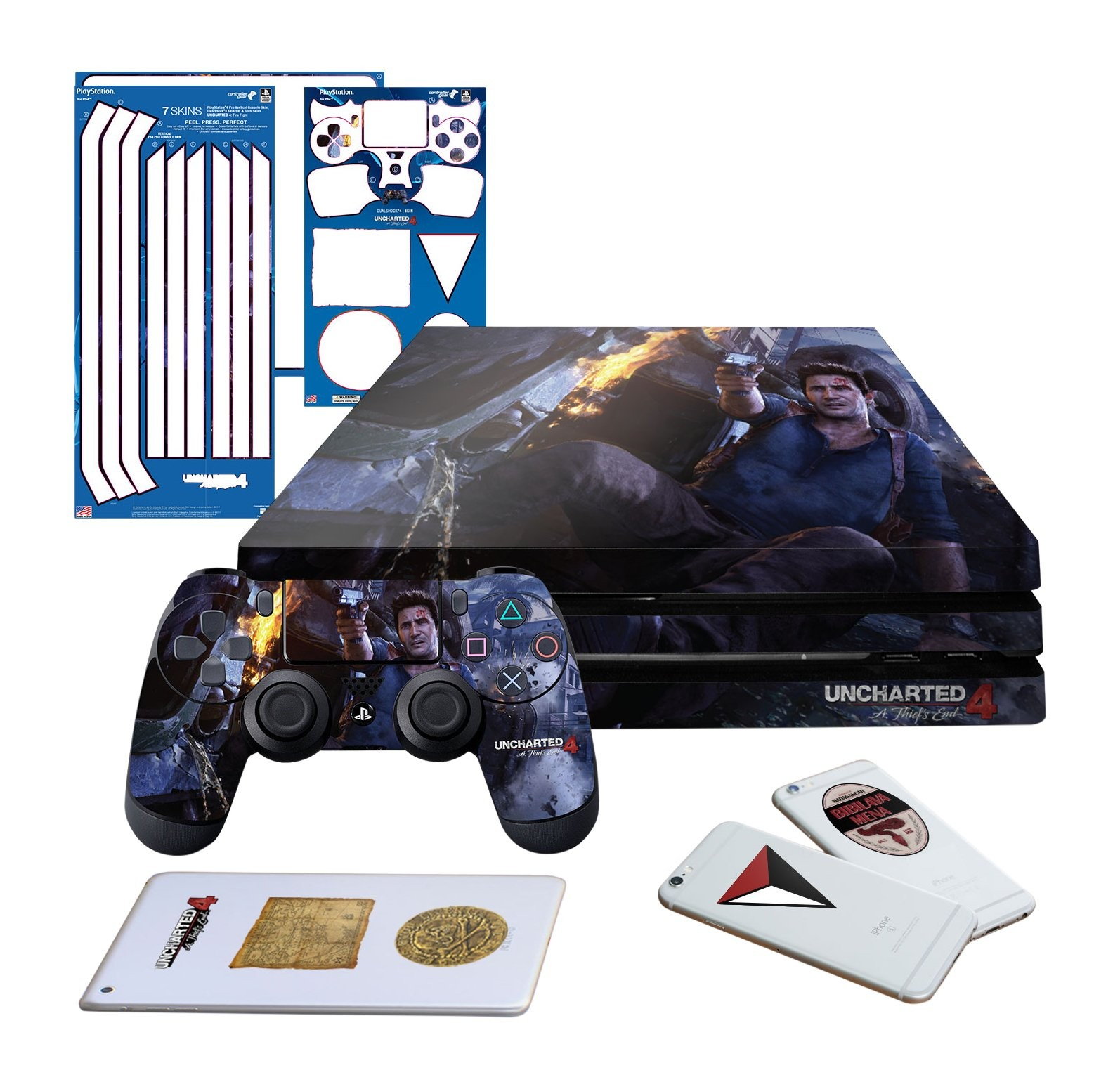 Uncharted 4 Fire Fight - PS4 PRO Horizontal Console and Controller Gaming Skin Pack - Officially Licensed by PlayStation - Controller Gear