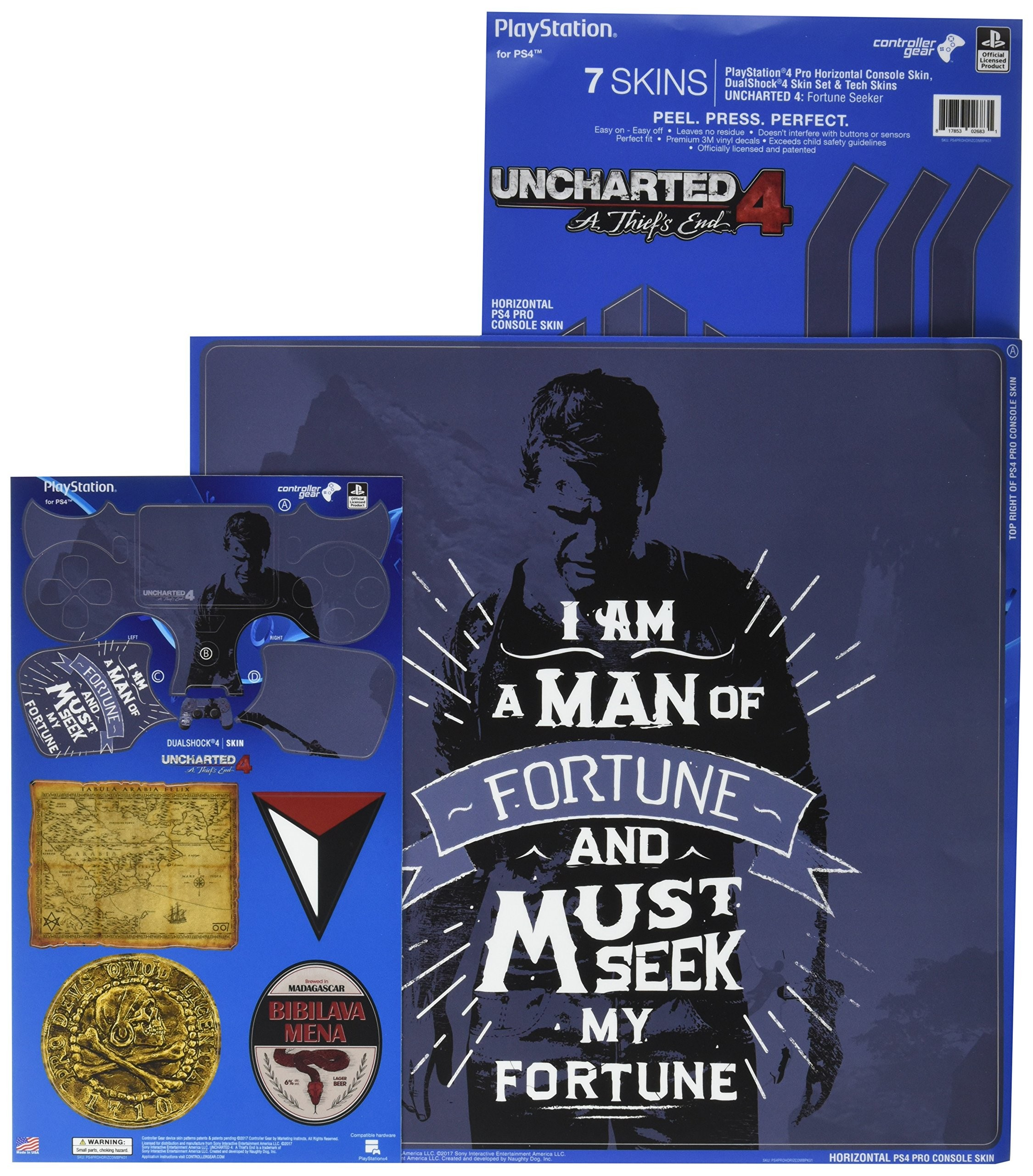 Uncharted 4 Fortune Seeker - PS4 PRO Horizontal Console and Controller Gaming Skin Pack - Officially Licensed by PlayStation - Controller Gear