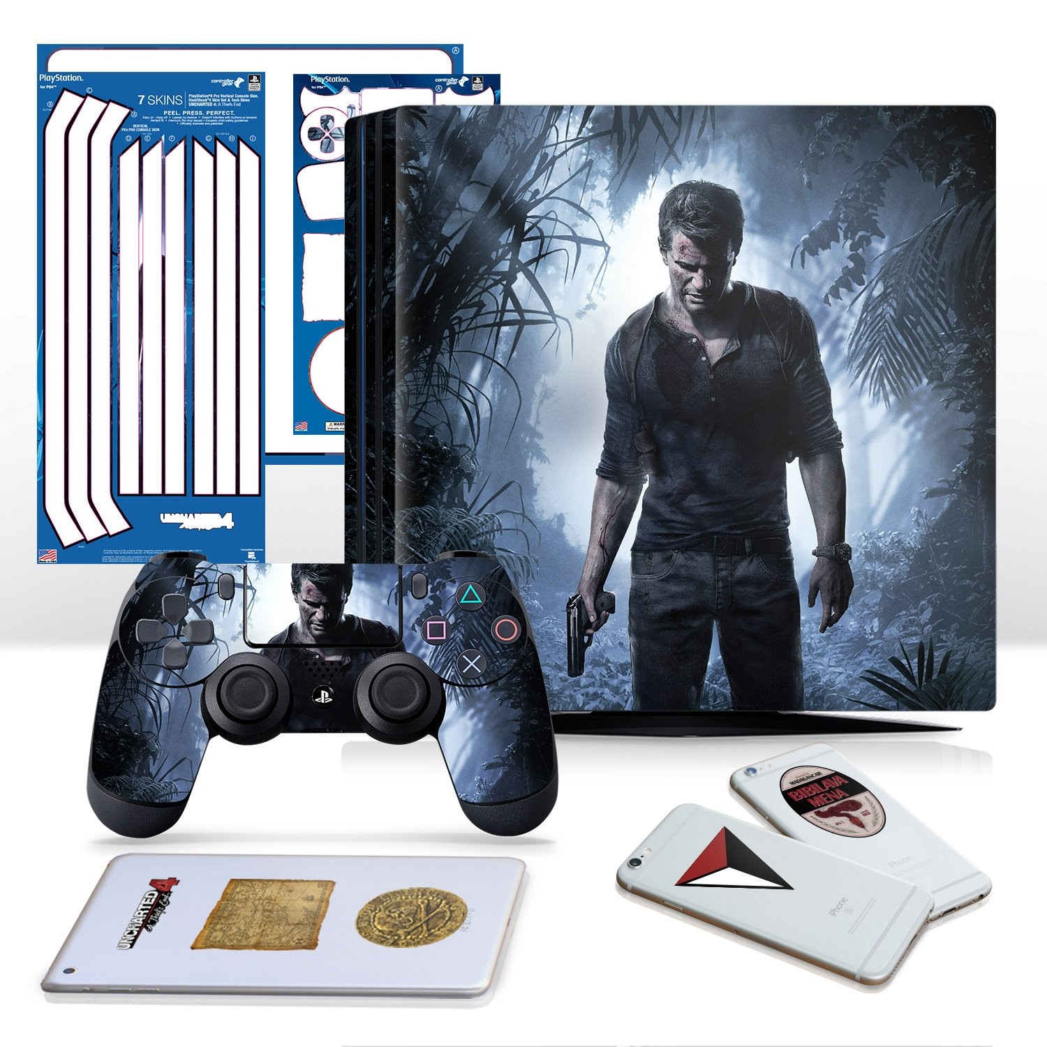 Uncharted 4 A Thief's End - PS4 PRO Horizontal Console and Controller Gaming Skin Pack - Officially Licensed by PlayStation - Controller Gear