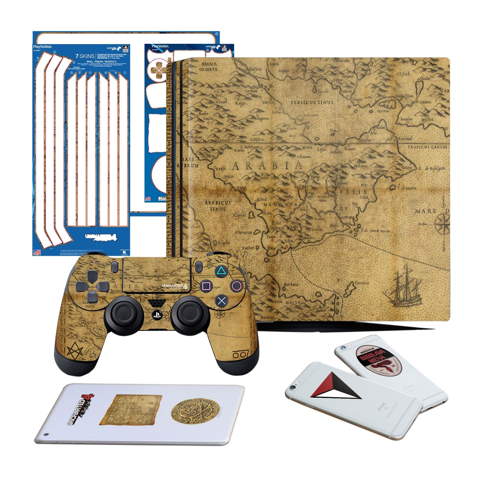 Uncharted 4 Map - PS4 PRO Vertical Console and Controller Gaming Skin Pack - Officially Licensed by PlayStation - Controller Gear