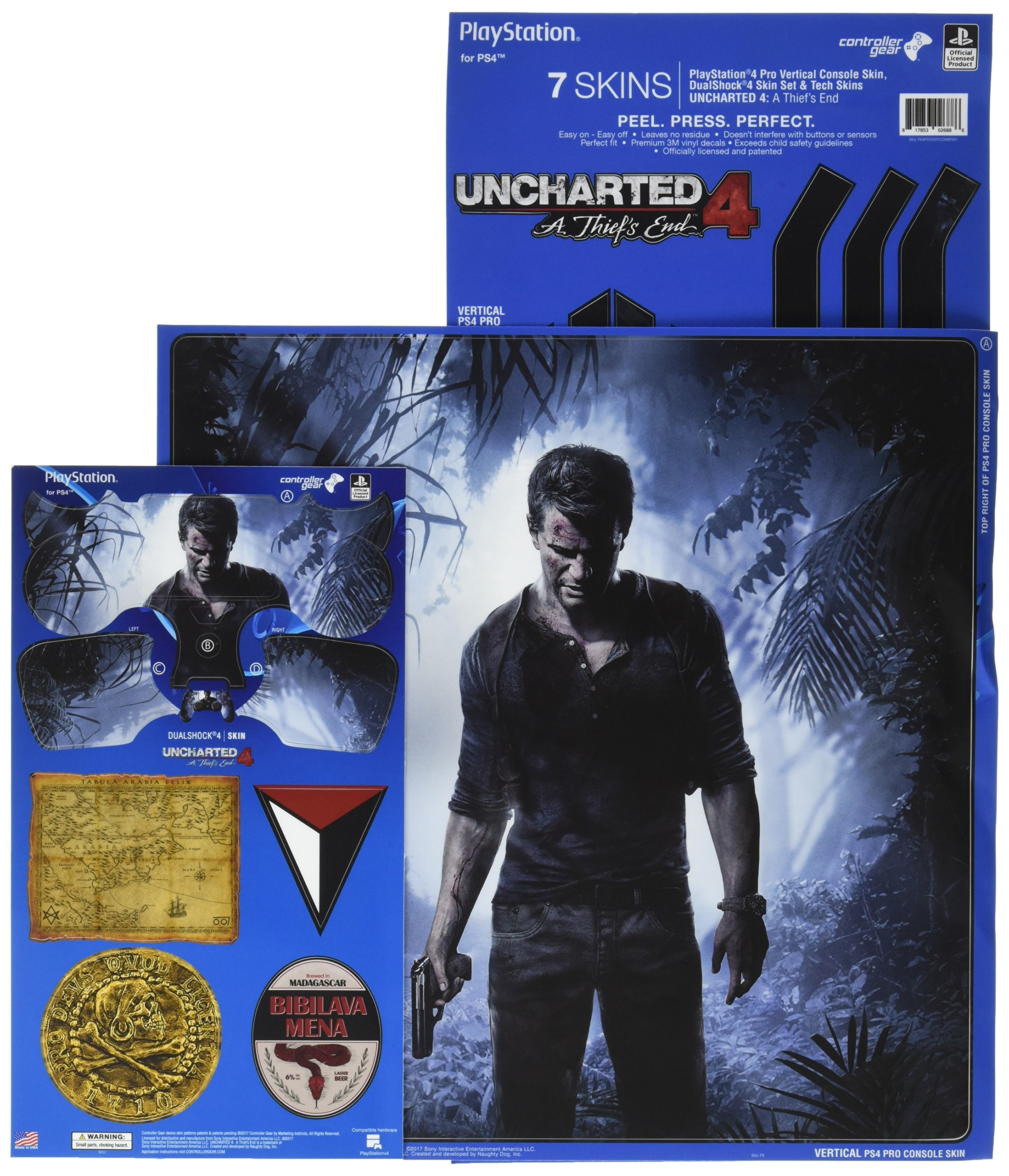 Uncharted 4 A Thief's End - PS4 Pro Vertical Console and Controller Gaming Skin Pack - Officially Licensed by PlayStation