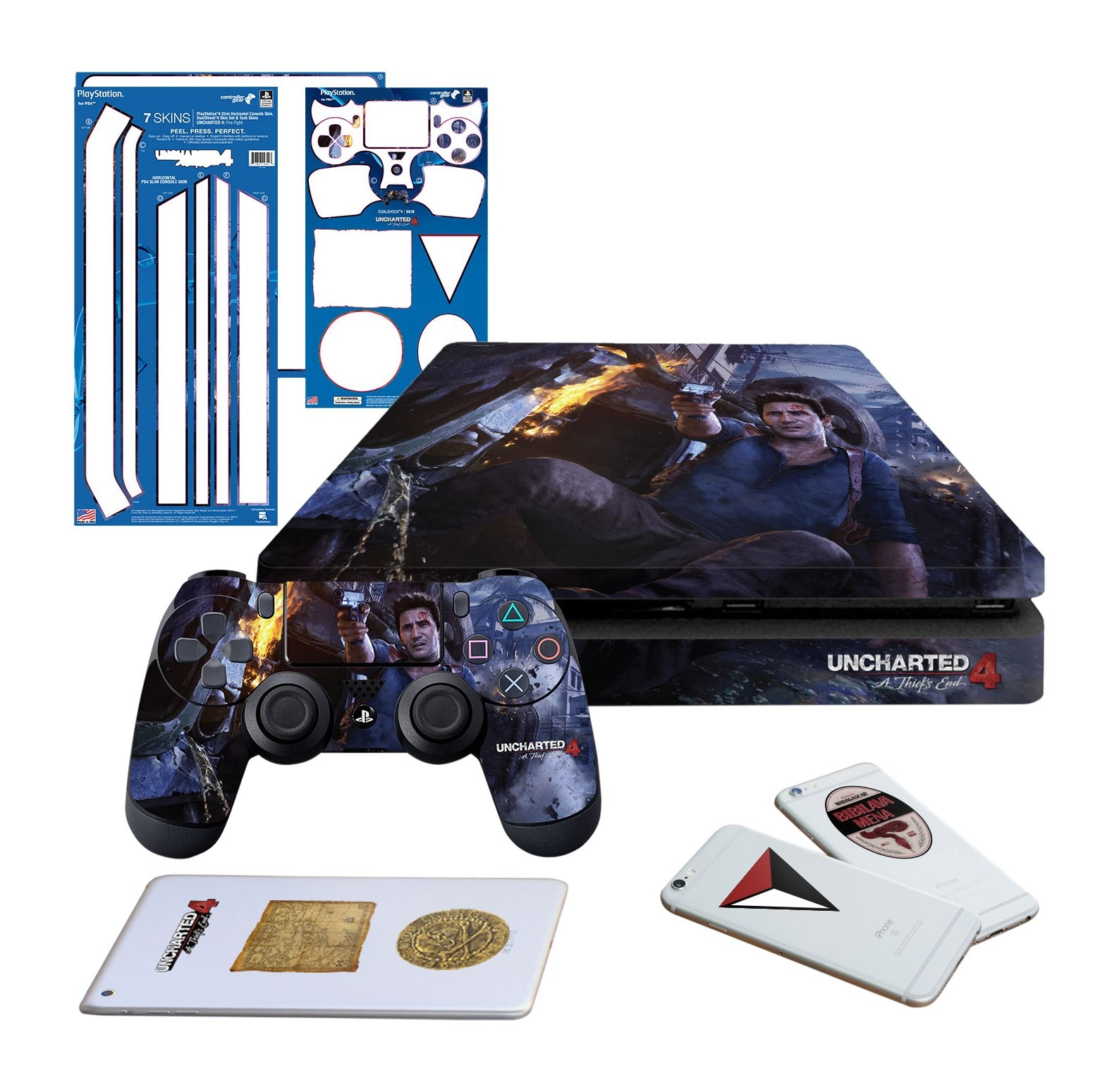 Uncharted 4 Fire Fight - PS4 SLIM Horizontal Console and Controller Gaming Skin Pack - Officially Licensed by PlayStation - Controller Gear