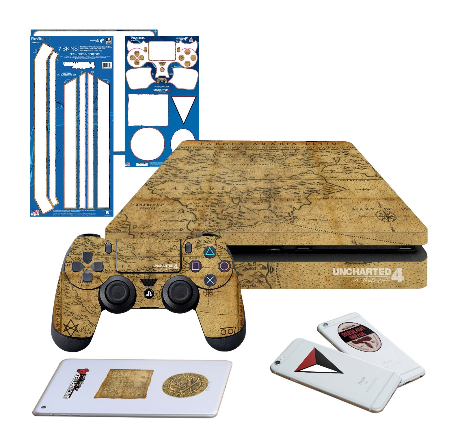 Uncharted 4 Map - PS4 SLIM Horizontal Console and Controller Gaming Skin Pack - Officially Licensed by PlayStation - Controller Gear