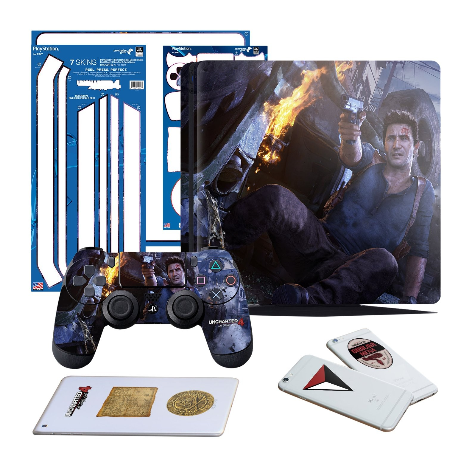 Uncharted 4 Fire Fight - PS4 SLIM Vertical Console and Controller Gaming Skin Pack - Officially Licensed by PlayStation - Controller Gear