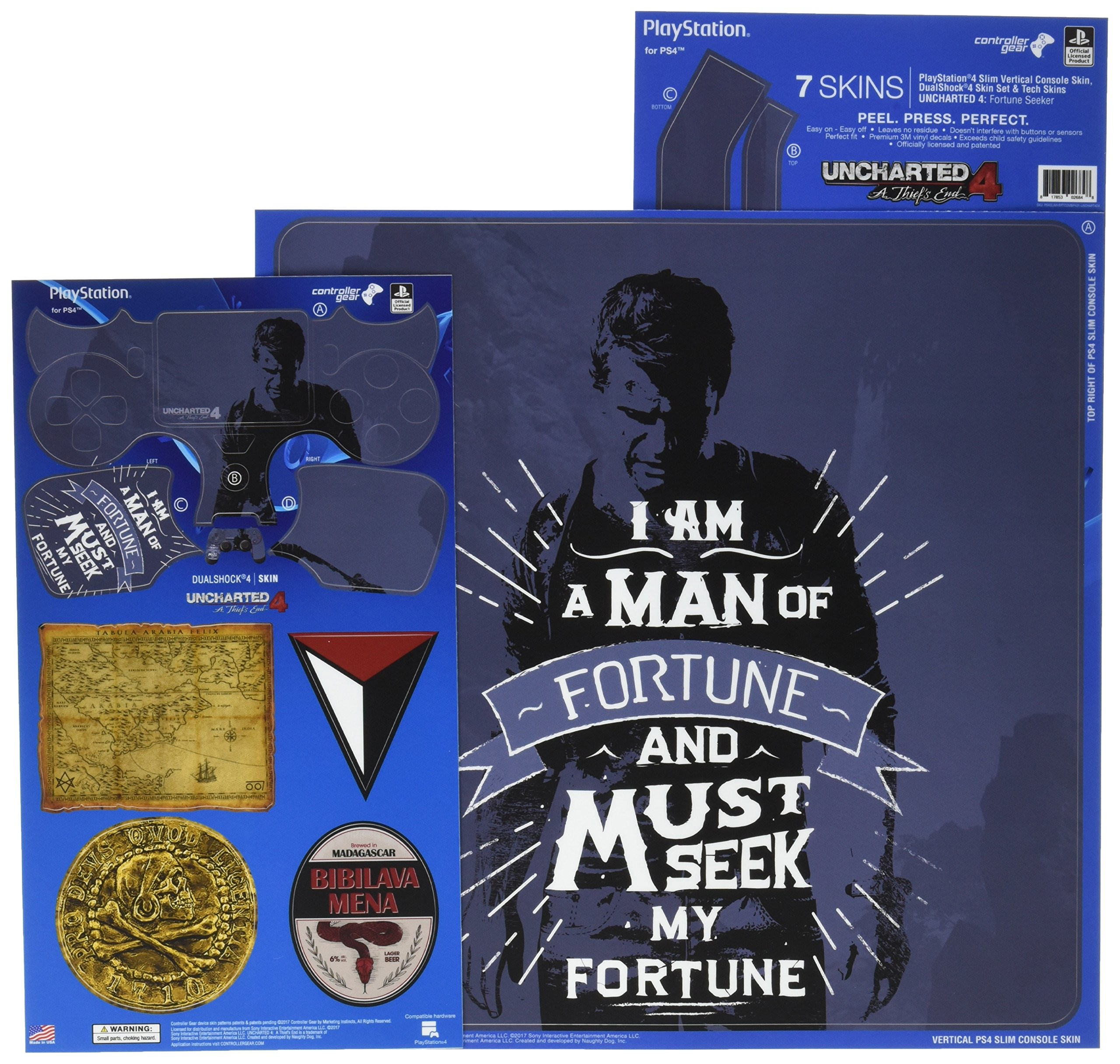 Uncharted 4 Fortune Seeker - PS4 Slim Vertical Console and Controller Gaming Skin Pack - Officially Licensed by PlayStation