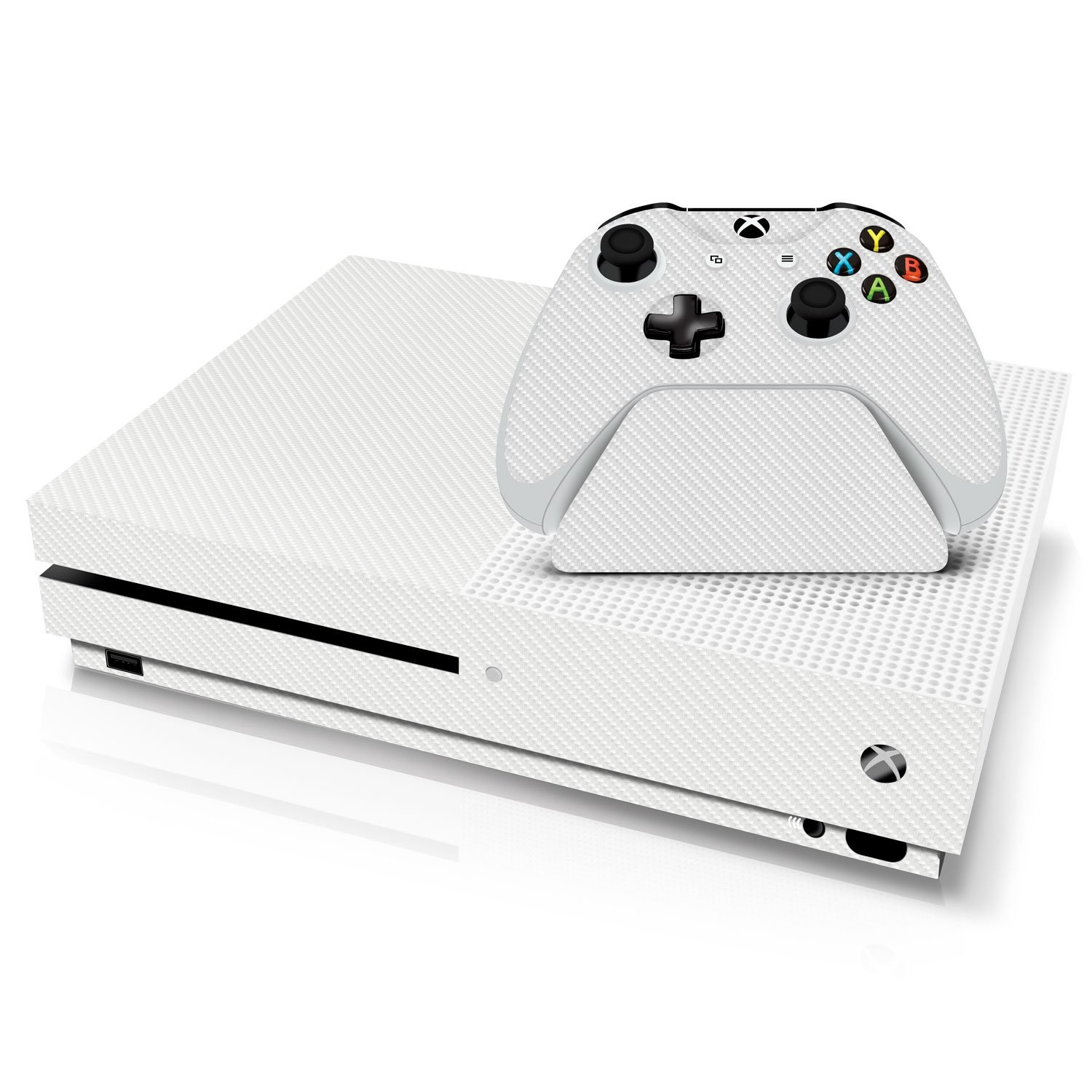 White Carbon Fiber - Xbox One S Console, Controller and Stand Skin Pack - Genuine 3M