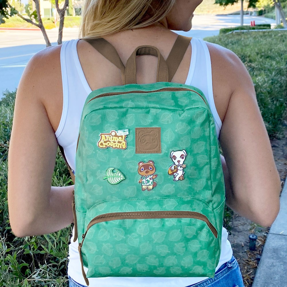 Animal Crossing: New Horizons – Teal Leaves – Small Backpack for Women, Girl's Cute Mini Bookbag Purse, Travel Bag for Nintendo Switch Console & Accessories