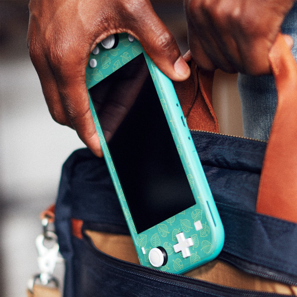 Teal Leaves Nintendo Switch Lite Skin Image 1