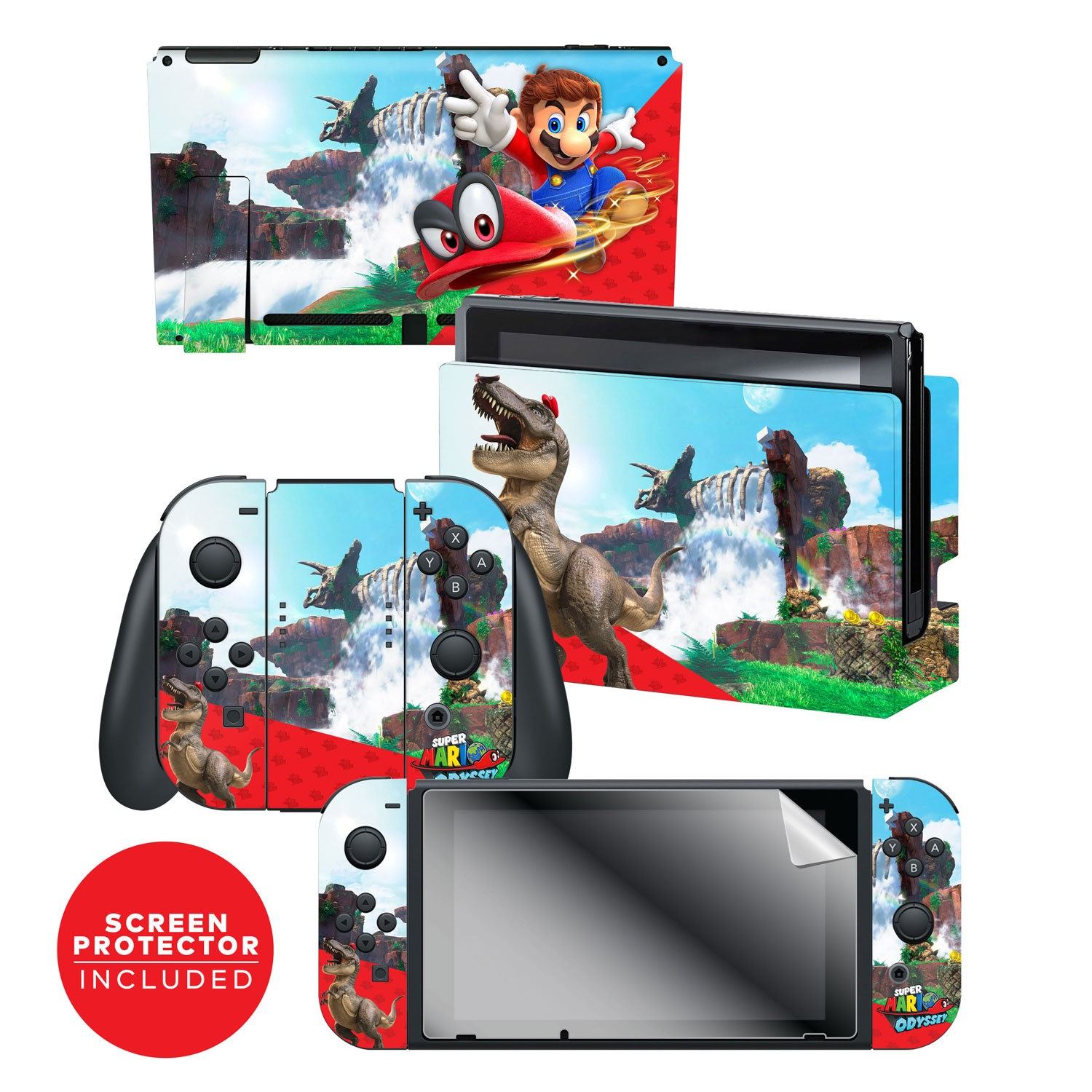 Super Mario™ Cascade Kingdom Nintendo Switch™ Console skin + Dock Skin + Joy-Con™ skin +  Joy-Con™ Grip Skin + Screen Protector Bundle Assortment