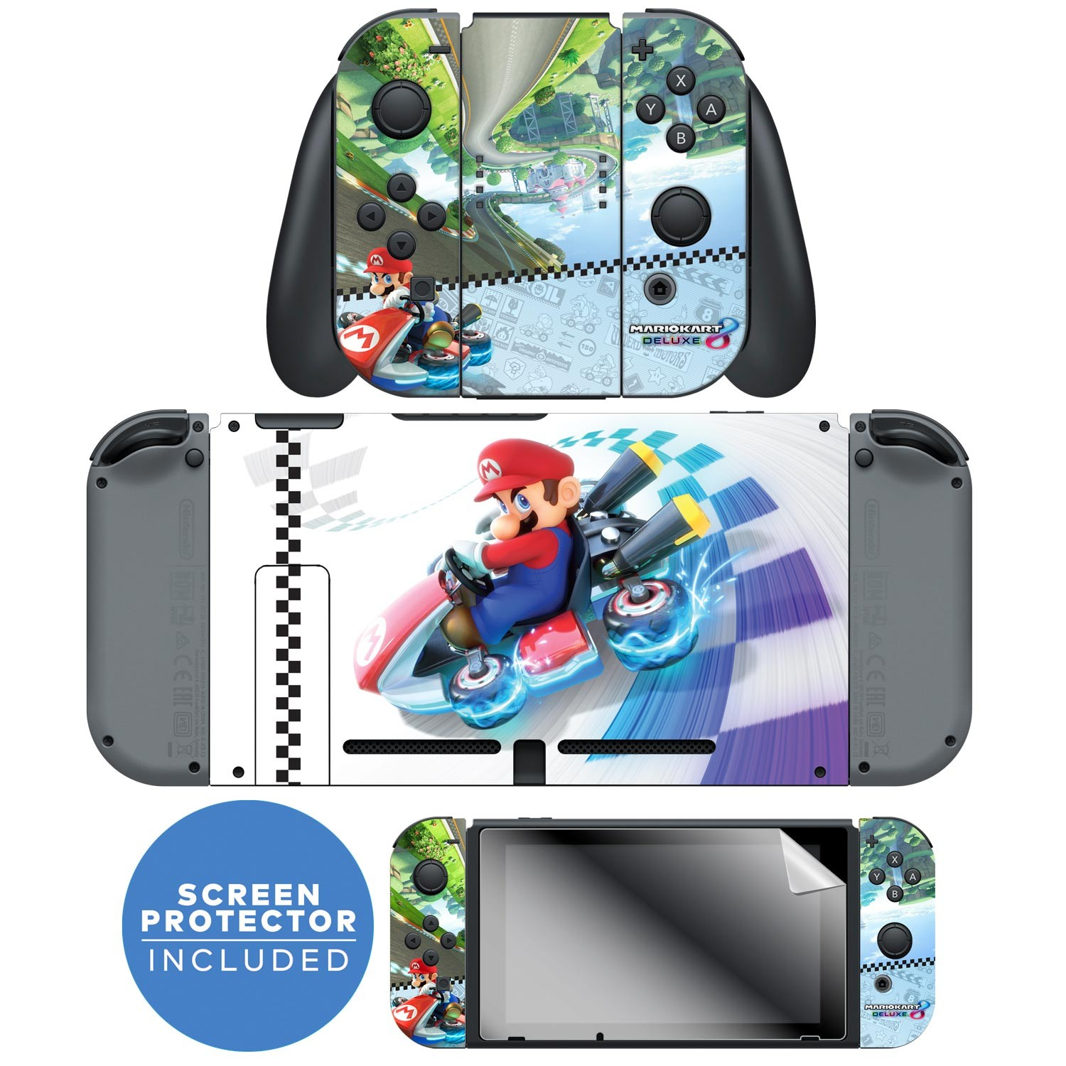 ccb945606e Nintendo Switch™ Skin   Screen Protector Set Officially Licensed by Nintendo  - Super Mario™ Kart ...