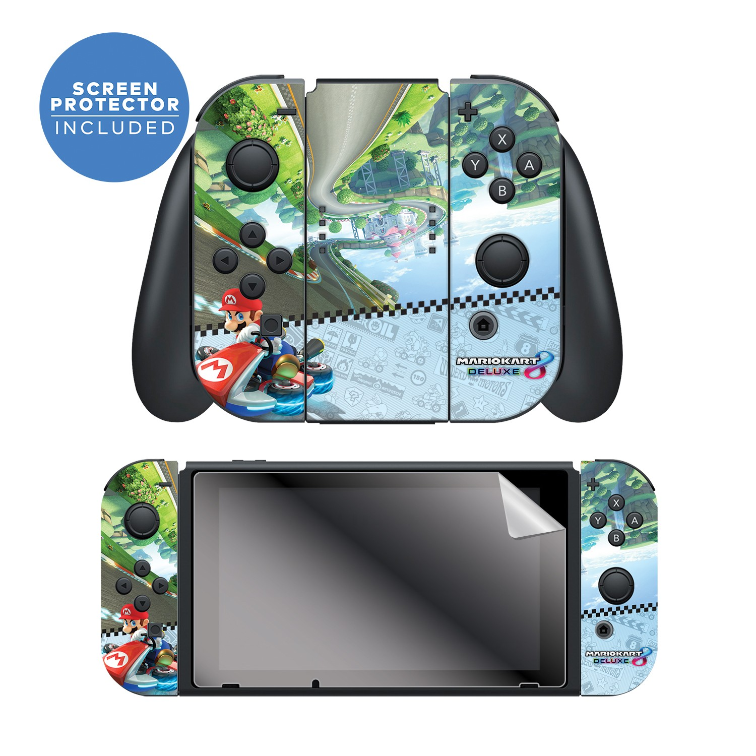 """Nintendo Switch™ Skin & Screen Protector Set Officially Licensed by Nintendo - Super Mario™ Kart 8: """"Anti Gravity"""" Joy-Con Only"""