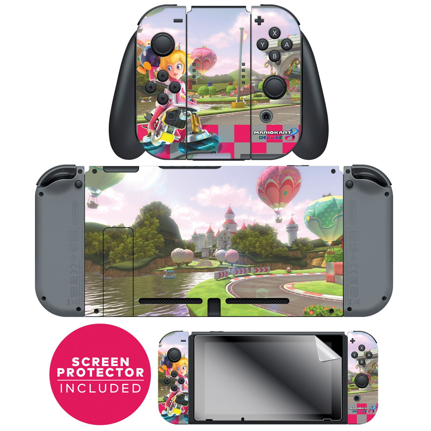 "Nintendo Switch™ Skin & Screen Protector Set Officially Licensed by Nintendo - Super Mario™ Kart 8: ""Princess Peach's Castle"" Joy-Con & Console Set"