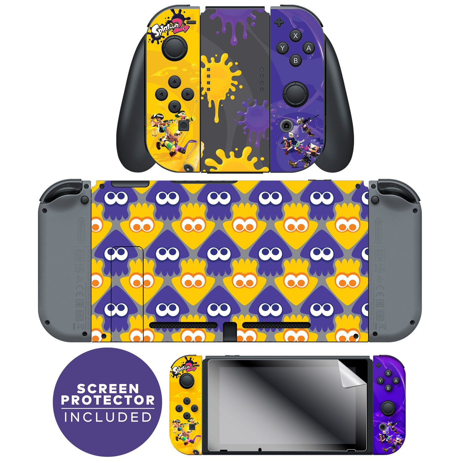 "Nintendo Switch™ Skin & Screen Protector Joy-Con & Console Set Officially Licensed by Nintendo - Splatoon 2™ ""Splatfest"""