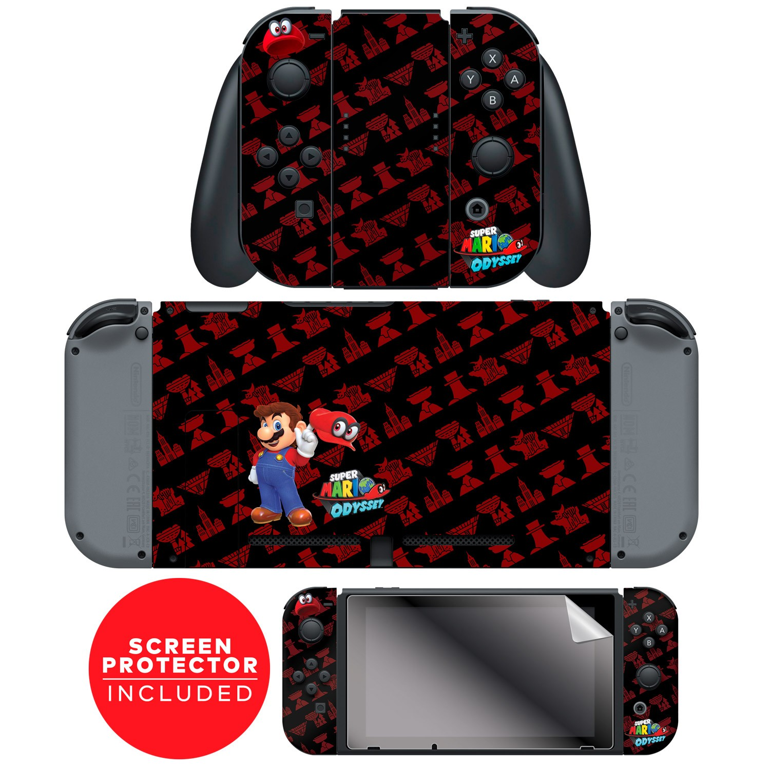 "Super Mario Odyssey™ ""Kingdoms Repeat"" Nintendo Switch™ Console skin + Joy-Con™ skin + Joy-Con™ Grip Skin + Screen Protector Bundle Assortment"