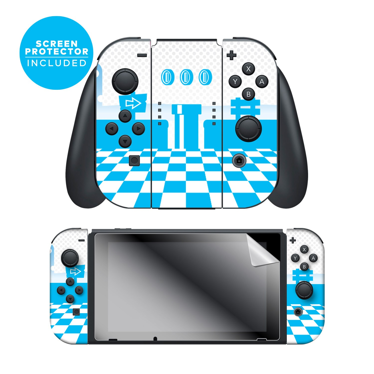 "Super Mario™ ""Mushroom Kingdom"" Nintendo Switch™ Joy-Con™ skin + Joy-Con™ Grip Skin + Screen Protector set"