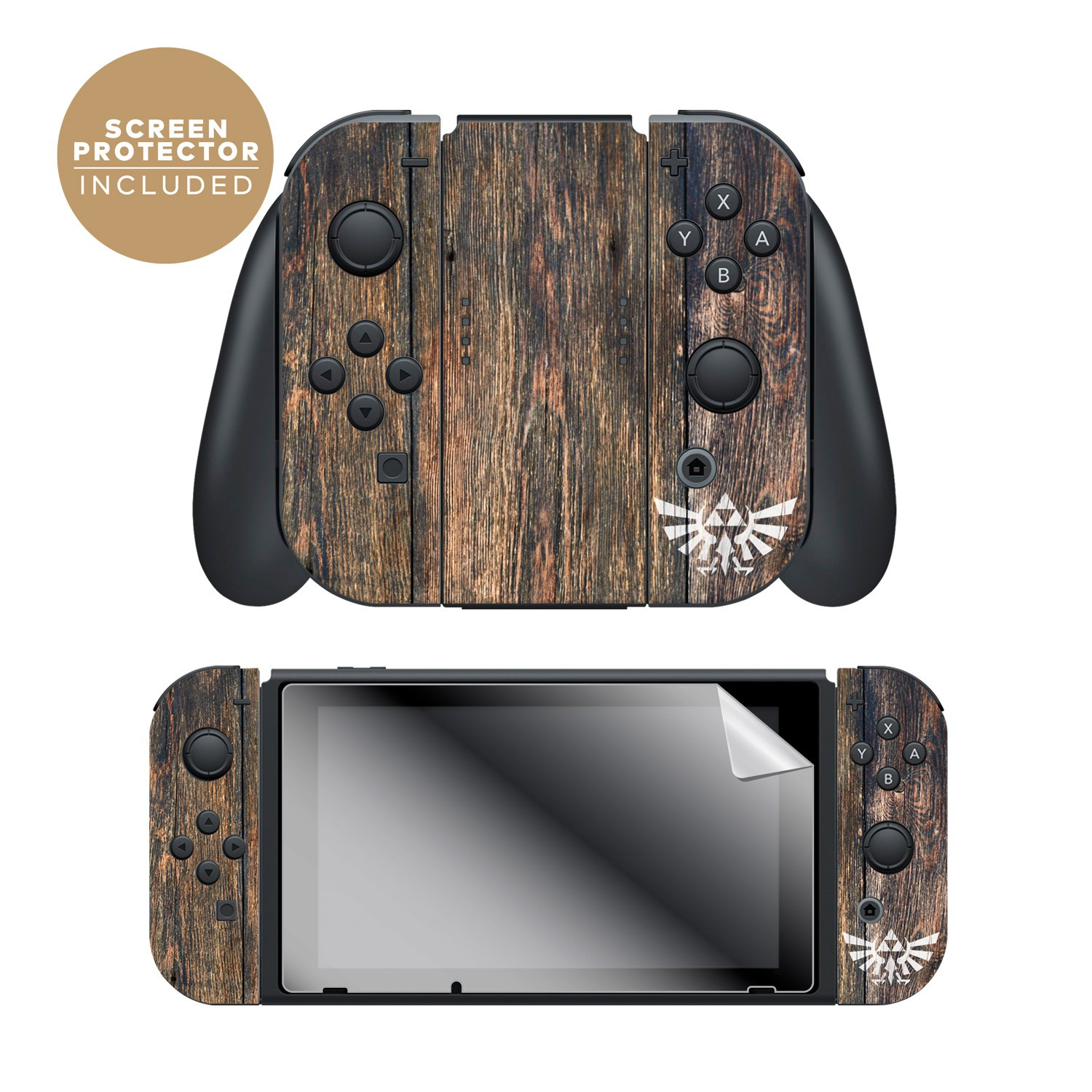 "The Legend Of Zelda™ Breath Of The Wild ""Woodgrain Triforce"" Nintendo Switch™ Console Skin + Joy-Con™ Skin + Joy-Con™ Grip Skin + Screen Protector Assortment"