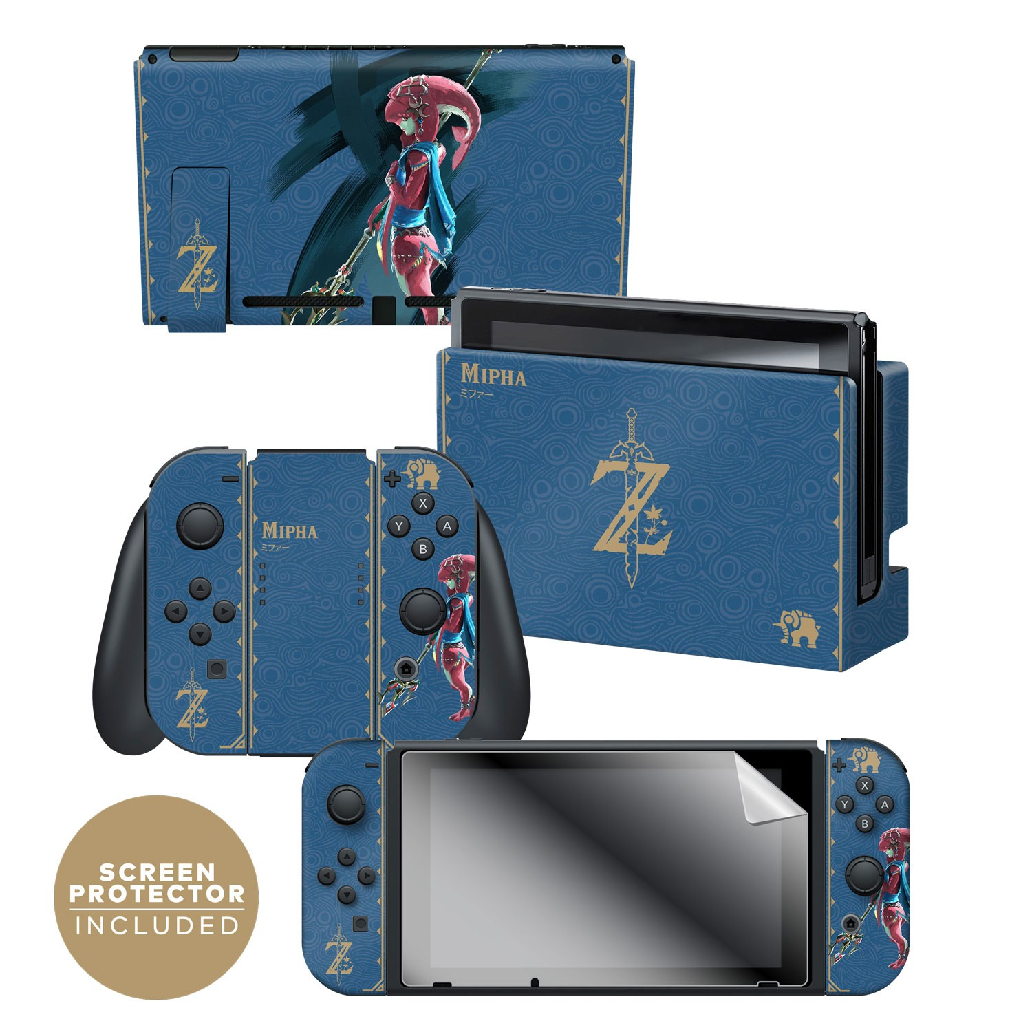 Nintendo Switch Skin & Skin Protector Set Officially Licensed by Nintendo - The Legend of Zelda: Breath of the Wild: Mipha Tribal