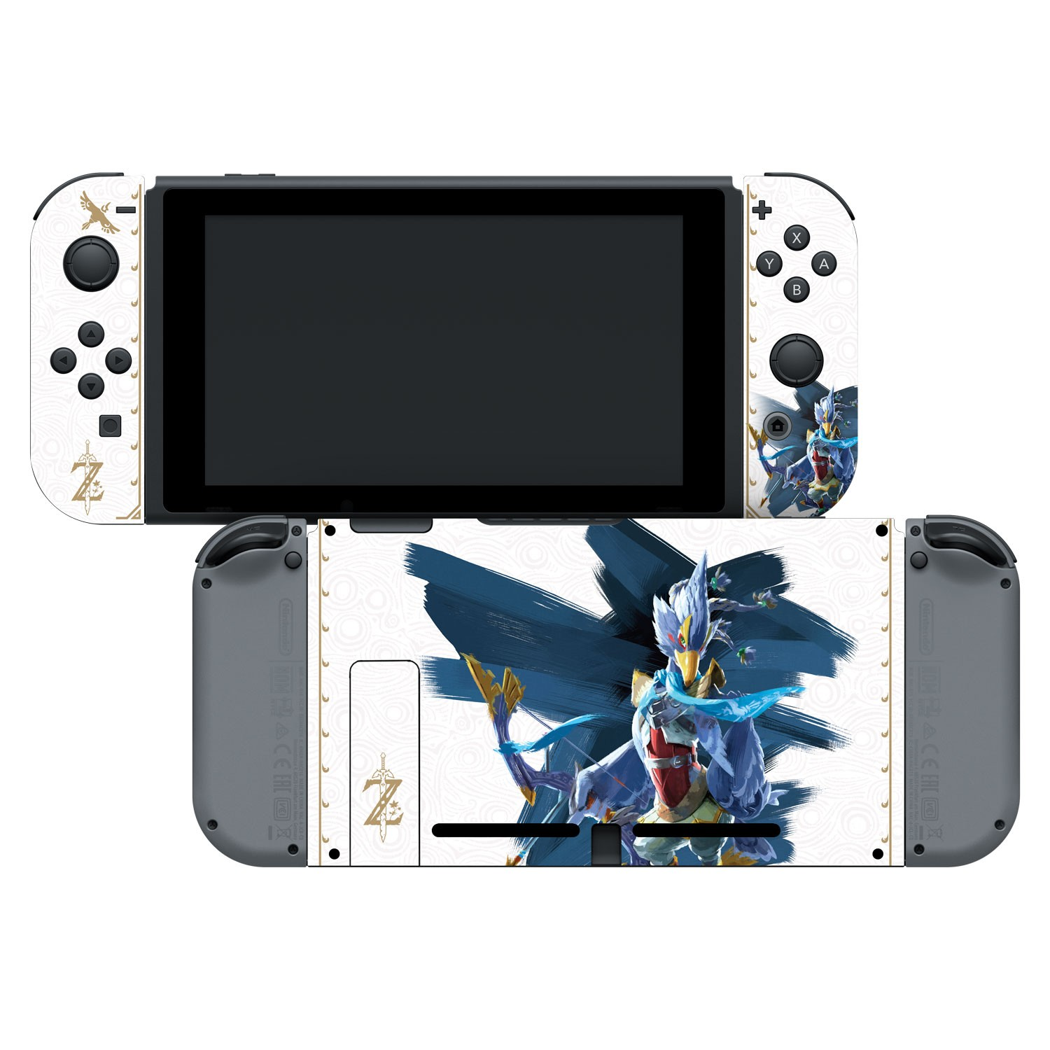 Nintendo Switch Skin & Screen Protector Set Officially Licensed by Nintendo - The Legend of Zelda: Breath of the Wild: Revali White Pattern