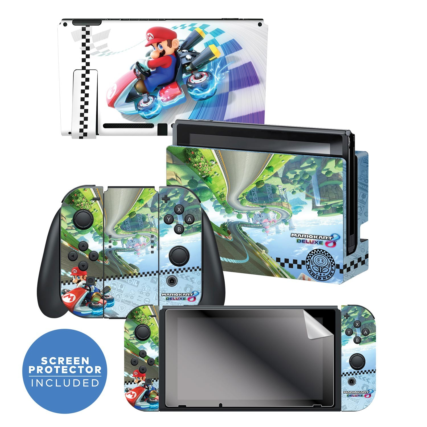 "Nintendo Switch™ Skin & Screen Protector Set Officially Licensed by Nintendo - Super Mario™ Kart 8: ""Anti Gravity"""