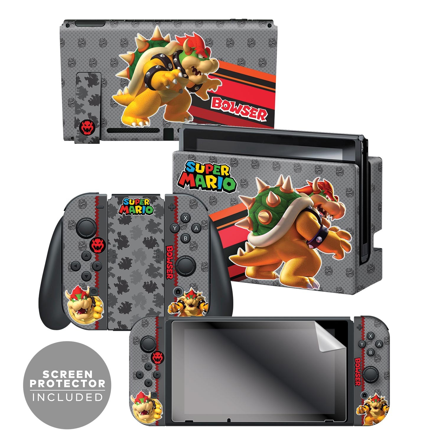 "Super Mario™ ""Bowser"" Nintendo Switch™ Console skin + Dock Skin + Joy-Con™ skin +  Joy-Con™ Grip Skin + Screen Protector Bundle Assortment, Officially Licensed by Nintendo"