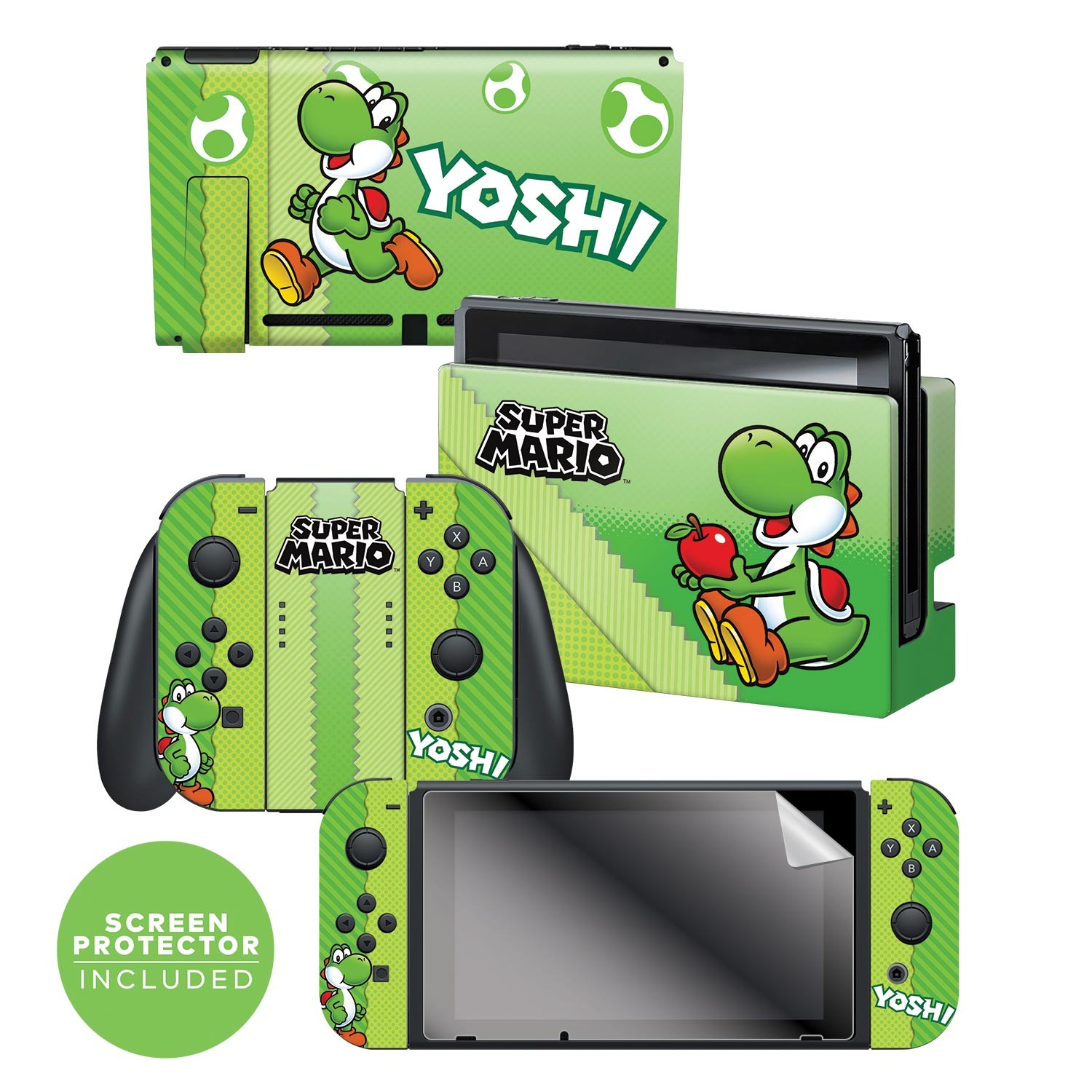 "Super Mario™ ""Yoshi Eggs"" Nintendo Switch™ Console skin + Dock Skin + Joy-Con™ skin +  Joy-Con™ Grip Skin + Screen Protector Bundle Assortment, Officially Licensed by Nintendo"