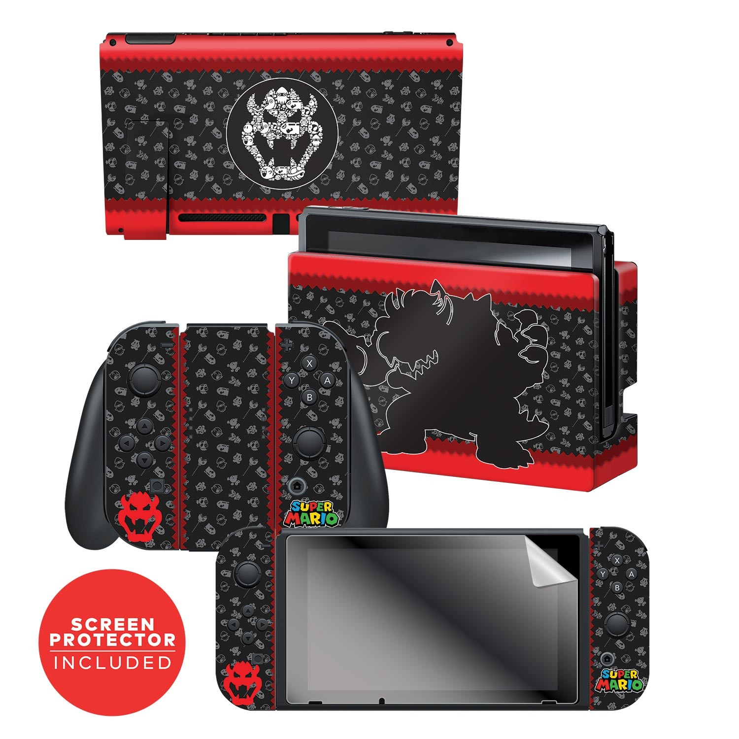 "Super Mario™ ""Bowser Silhouette"" Nintendo Switch™ Console skin + Dock Skin + Joy-Con™ skin +  Joy-Con™ Grip Skin + Screen Protector Bundle Assortment, Officially Licensed by Nintendo"