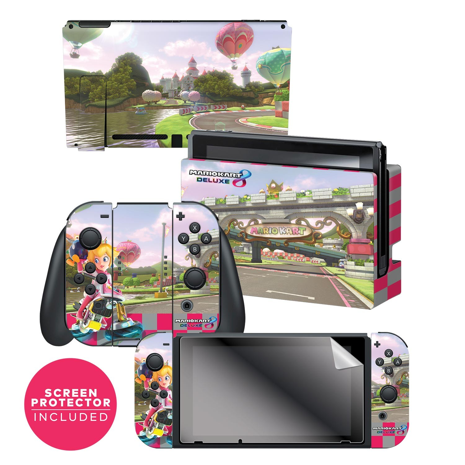"Nintendo Switch™ Skin & Screen Protector Set Officially Licensed by Nintendo - Super Mario™ Kart 8: ""Princess Peach's Castle"""