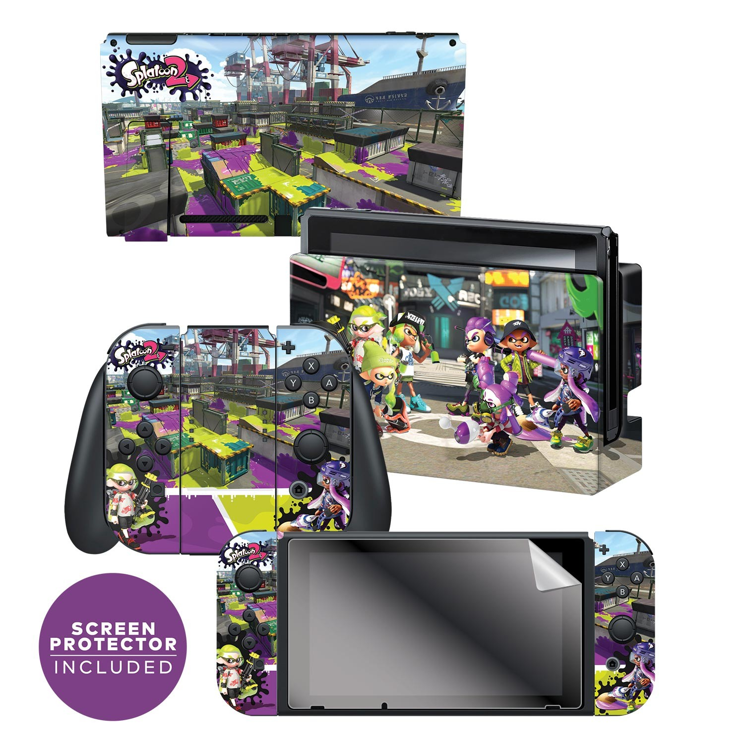 "Splatoon 2™ ""Vandals vs Artist""  Nintendo Switch™ Console skin + Dock Skin + Joy-Con™ skin +  Joy-Con™ Grip Skin + Screen Protector Bundle Assortment, Officially Licensed by Nintendo"