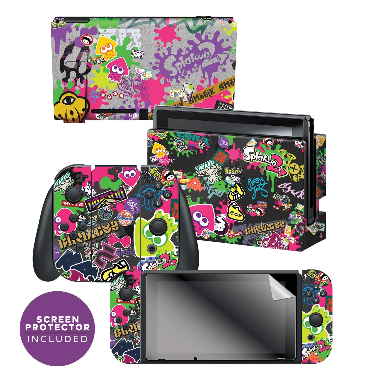 "Splatoon 2™ ""Stick Em' Up""  Nintendo Switch™ Console skin + Dock Skin + Joy-Con™ skin +  Joy-Con™ Grip Skin + Screen Protector Bundle Assortment, Officially Licensed by Nintendo"