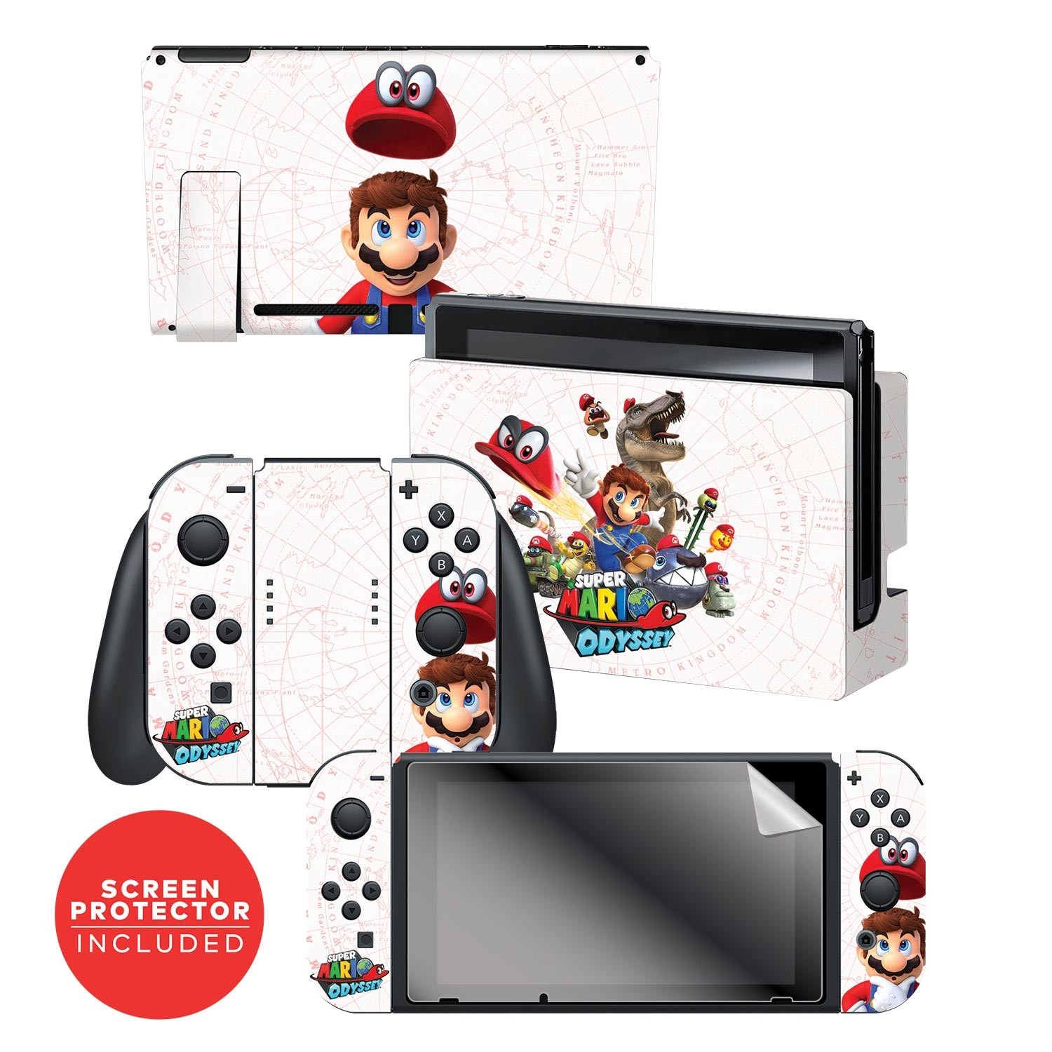 "Super Mario Odyssey™ ""Capture Map"" Nintendo Switch™ Console skin + Dock Skin + Joy-Con™ skin +  Joy-Con™ Grip Skin + Screen Protector Bundle Assortment, Officially Licensed by Nintendo"