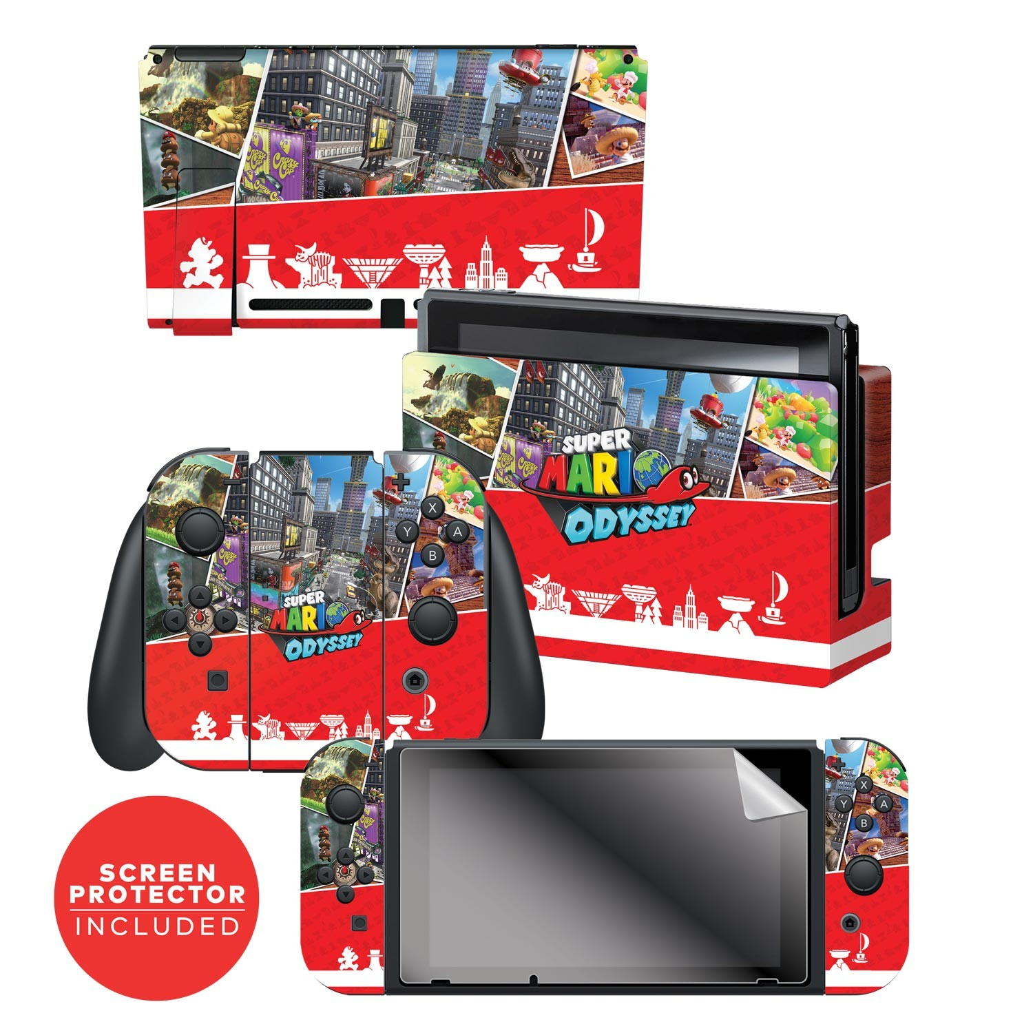 "Super Mario Odyssey™ ""Key Art Kingdoms"" Nintendo Switch™ Console skin + Dock Skin + Joy-Con™ skin +  Joy-Con™ Grip Skin + Screen Protector Bundle Assortment, Officially Licensed by Nintendo"