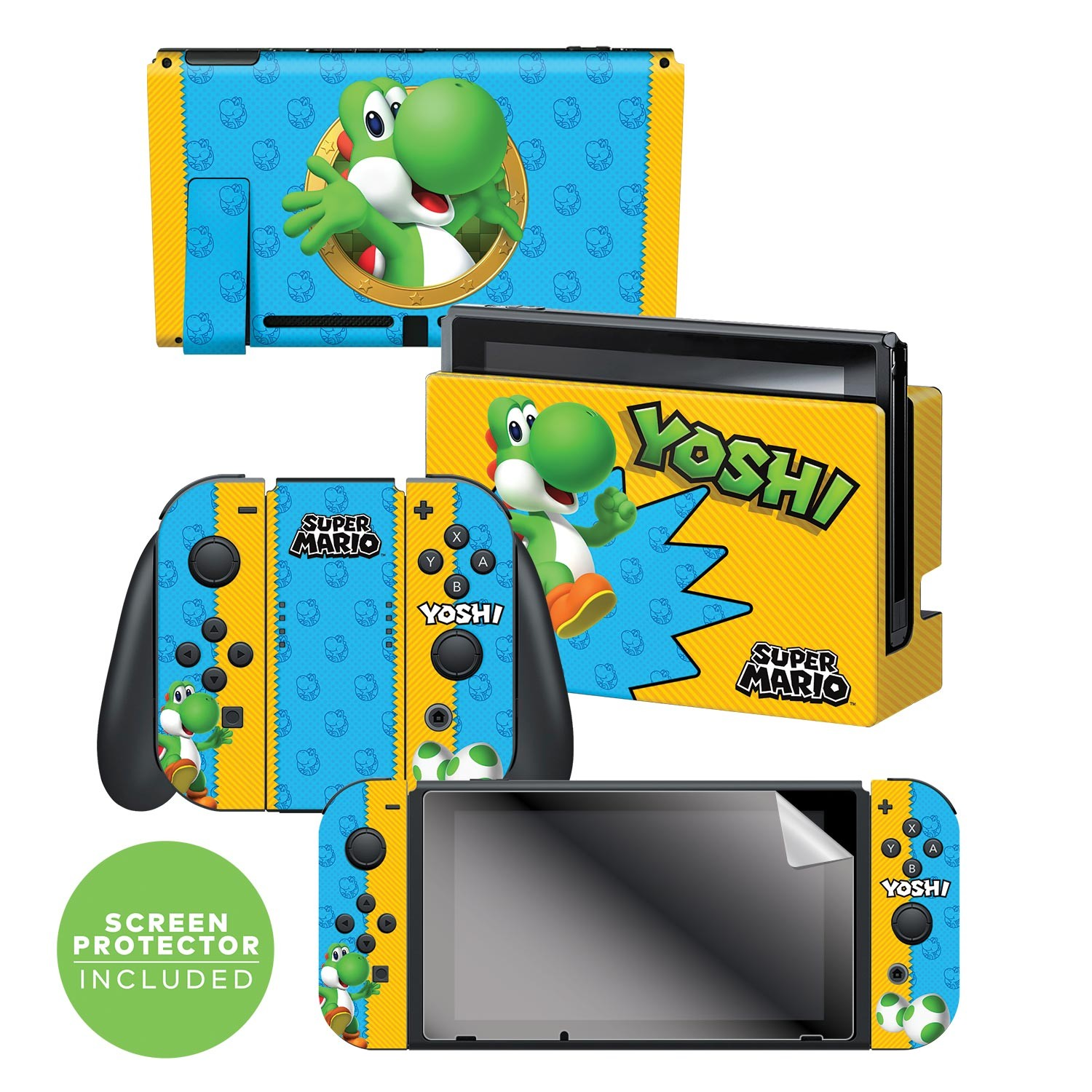 "Super Mario™ ""Yoshi"" Nintendo Switch™ Console skin + Dock Skin + Joy-Con™ skin +  Joy-Con™ Grip Skin + Screen Protector Bundle Assortment, Officially Licensed by Nintendo"