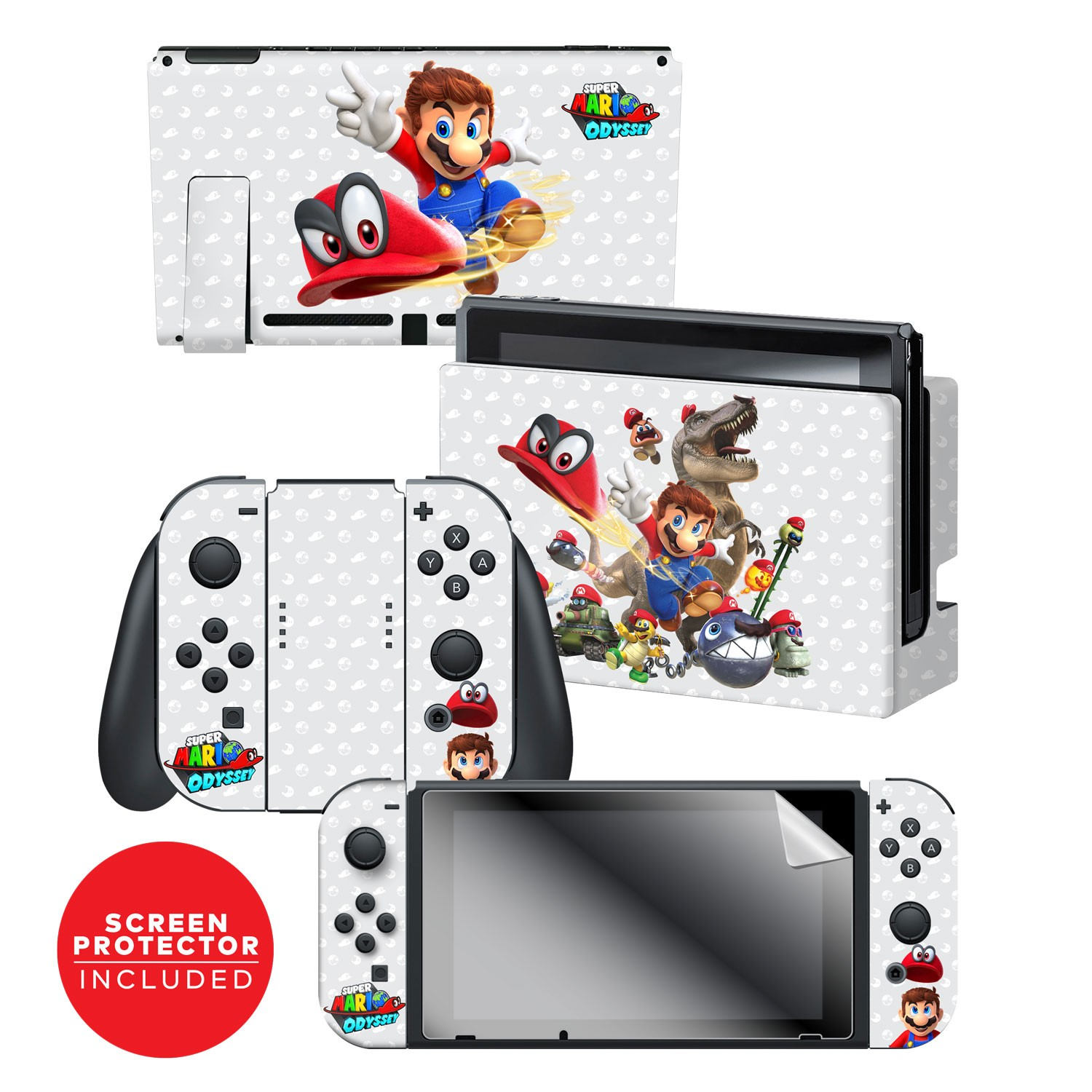 "Super Mario Odyssey™ ""Capture"" Nintendo Switch™ Console skin + Dock Skin + Joy-Con™ skin +  Joy-Con™ Grip Skin + Screen Protector Bundle Assortment, Officially Licensed by Nintendo"