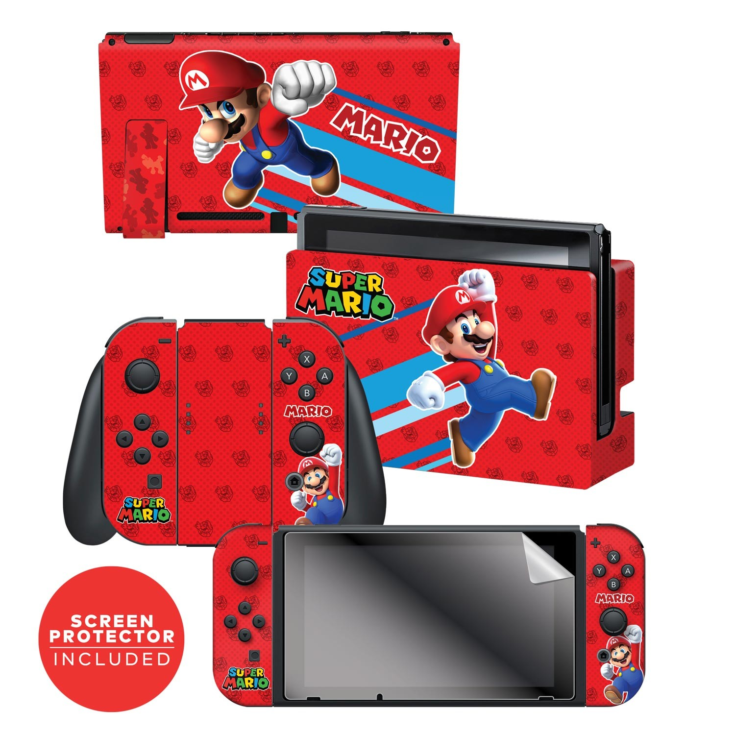 "Super Mario™ ""Super Mario"" Nintendo Switch™ Console skin + Dock Skin + Joy-Con™ skin +  Joy-Con™ Grip Skin + Screen Protector Bundle Assortment, Officially Licensed by Nintendo"