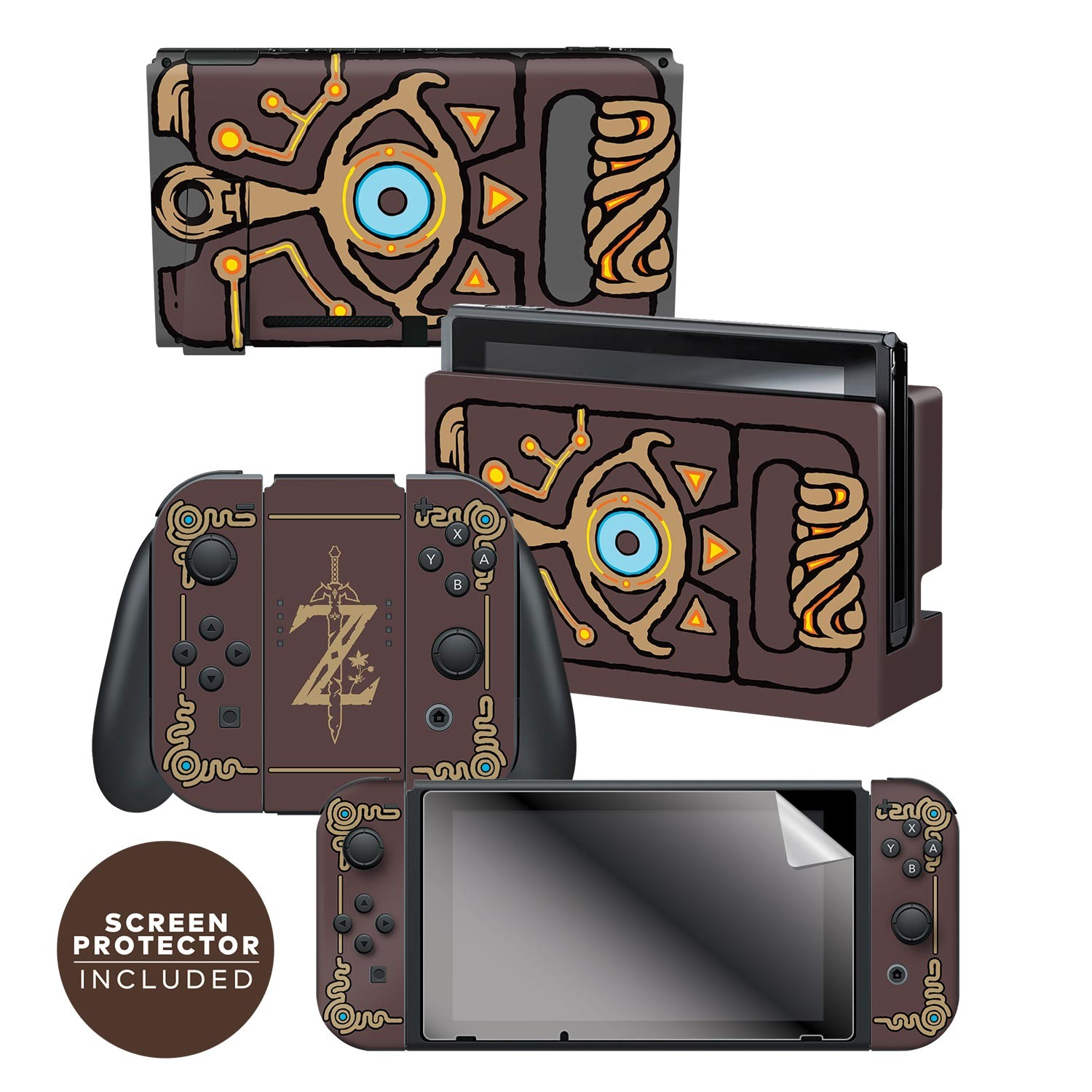 Nintendo Switch Skin Screen Protector Set Officially Licensed By Nintendo The Legend Of Zelda Breath Of The Wild Sheikah Slate