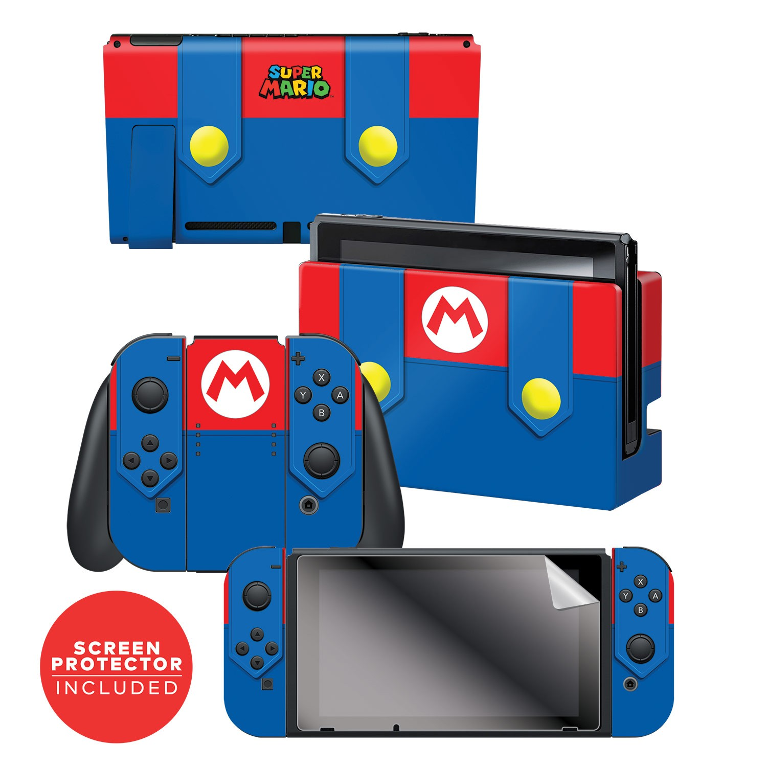 "Super Mario™ ""Mario's Outfit"" Nintendo Switch™ Console skin + Dock Skin + Joy-Con™ skin +  Joy-Con™ Grip Skin + Screen Protector Bundle Assortment, Officially Licensed by Nintendo"