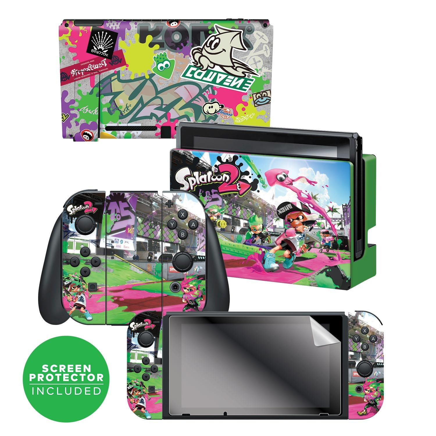 "Nintendo Switch™ Skin & Screen Protector Set Officially Licensed by Nintendo - Splatoon 2™ ""Sound The Alarm"""
