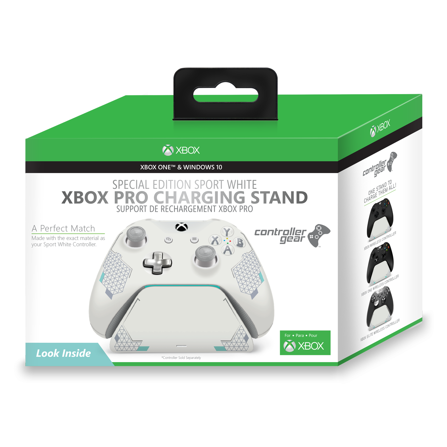 Sport White Special Edition Xbox Pro Charging Stand. Exact match to your Xbox One Sport White Controller. Officially Licensed and Designed for Xbox