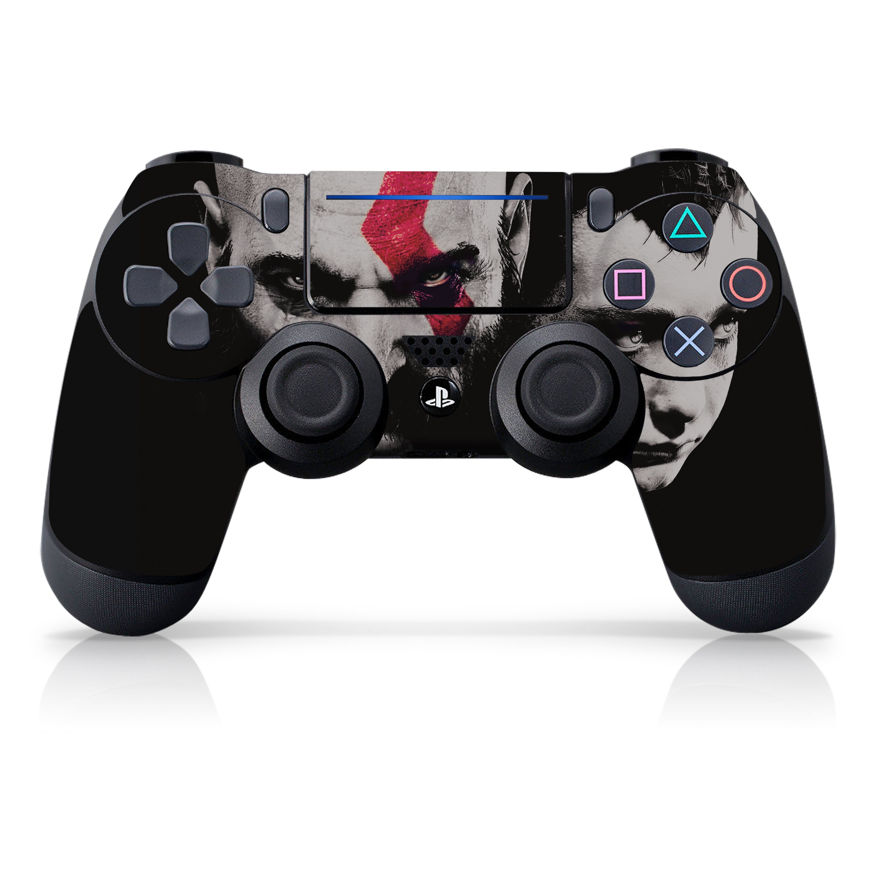 "Officially Licensed PlayStation 4 God of War DUALSHOCK 4 Wireless Controller Skin and Tech Decals ""Faces"""