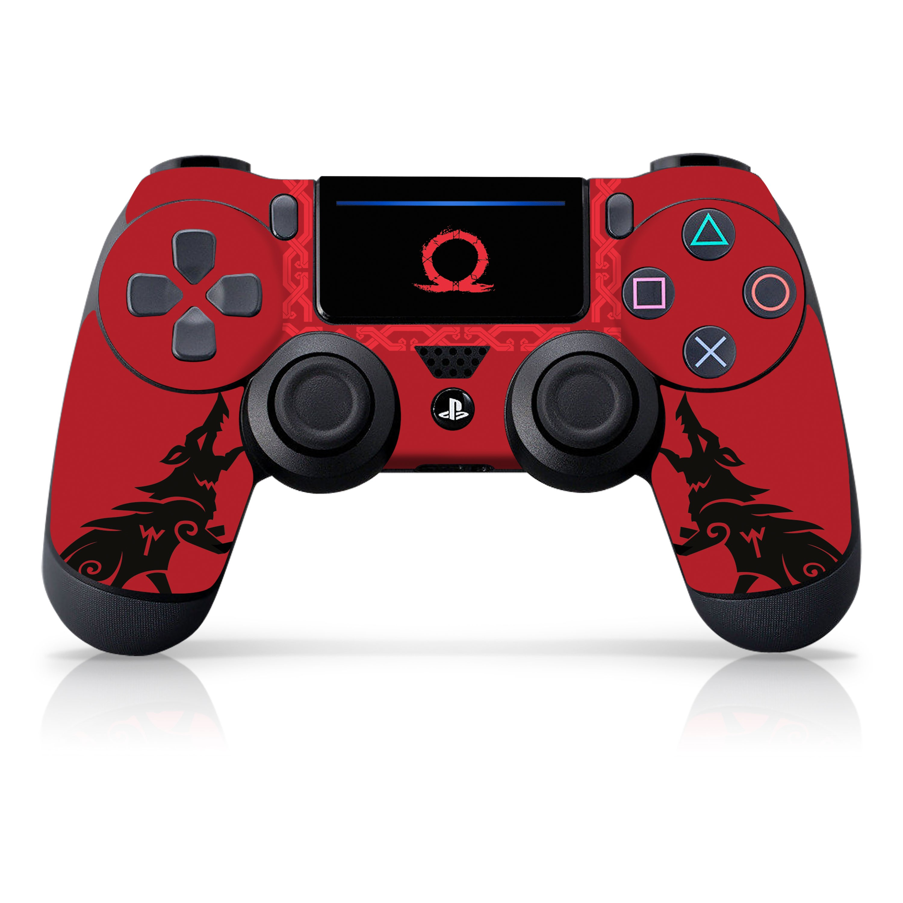 "Officially Licensed PlayStation 4 God of War DUALSHOCK 4 Wireless Controller Skin and Tech Decals ""Howling Red"""