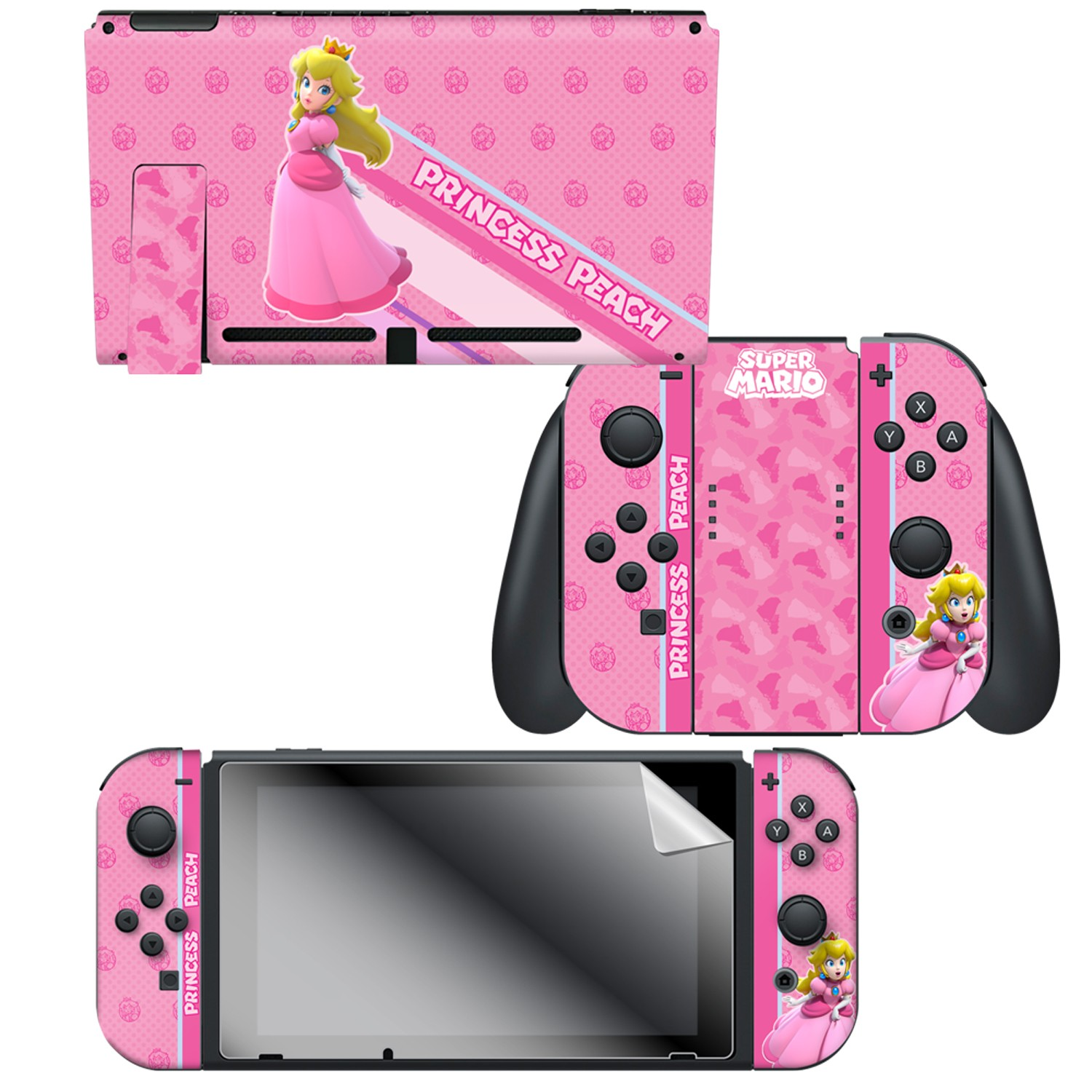 Super Mario Princess Peach Nintendo Switch Console Skin Joy Con
