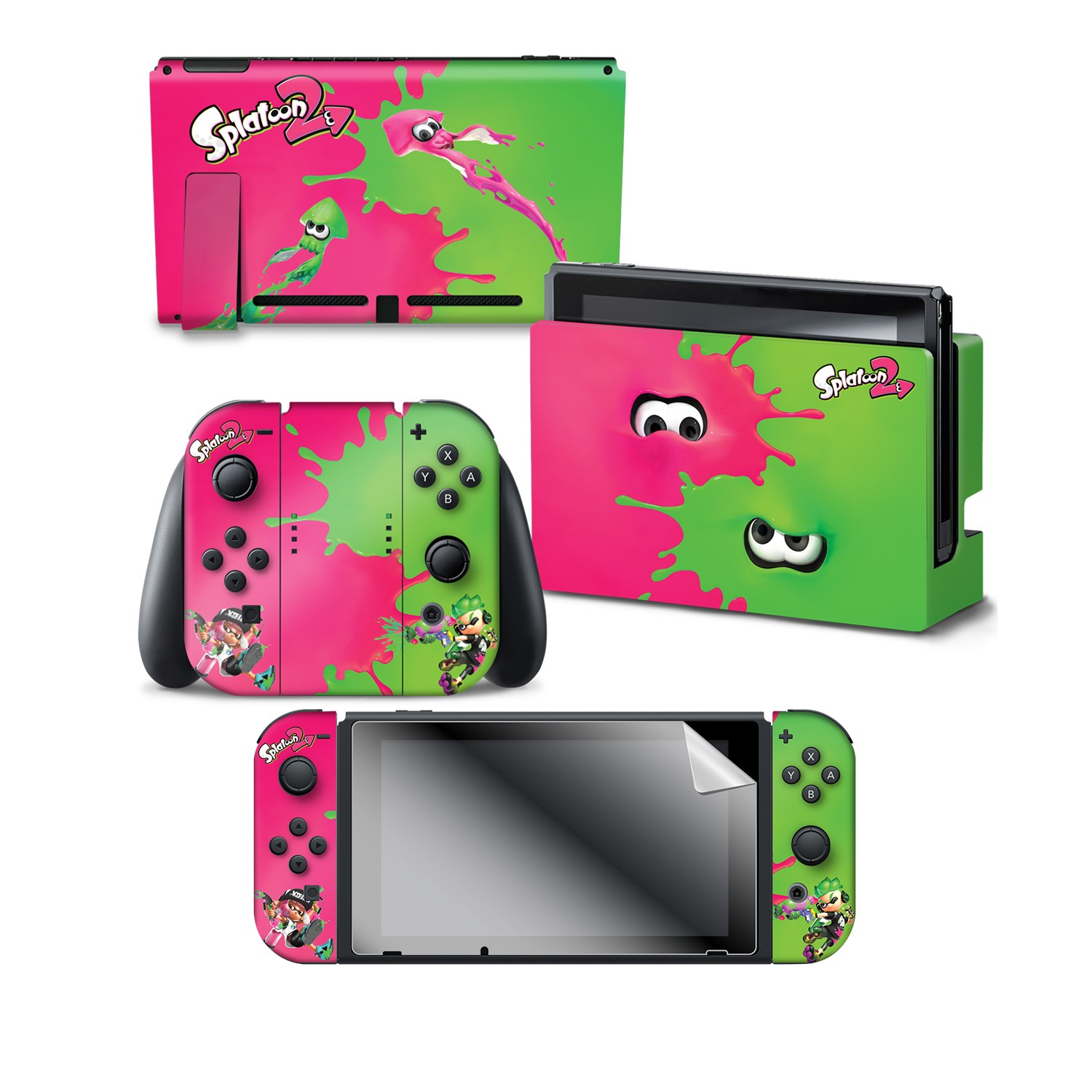 "Splatoon 2™ ""Pink Vs Green""  Nintendo Switch™ Console skin + Dock Skin + Joy-Con™ skin +  Joy-Con™ Grip Skin + Screen Protector Bundle Assortment"