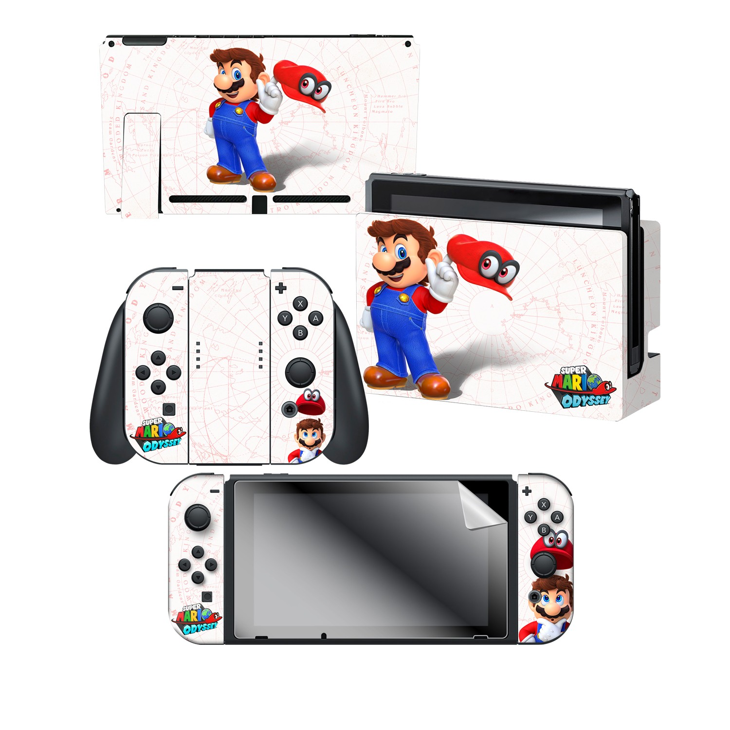 "Super Mario Odyssey™ ""Mario Map"" Nintendo Switch™ Console skin + Dock Skin + Joy-Con™ skin + Joy-Con™ Grip Skin + Screen Protector Bundle Assortment"