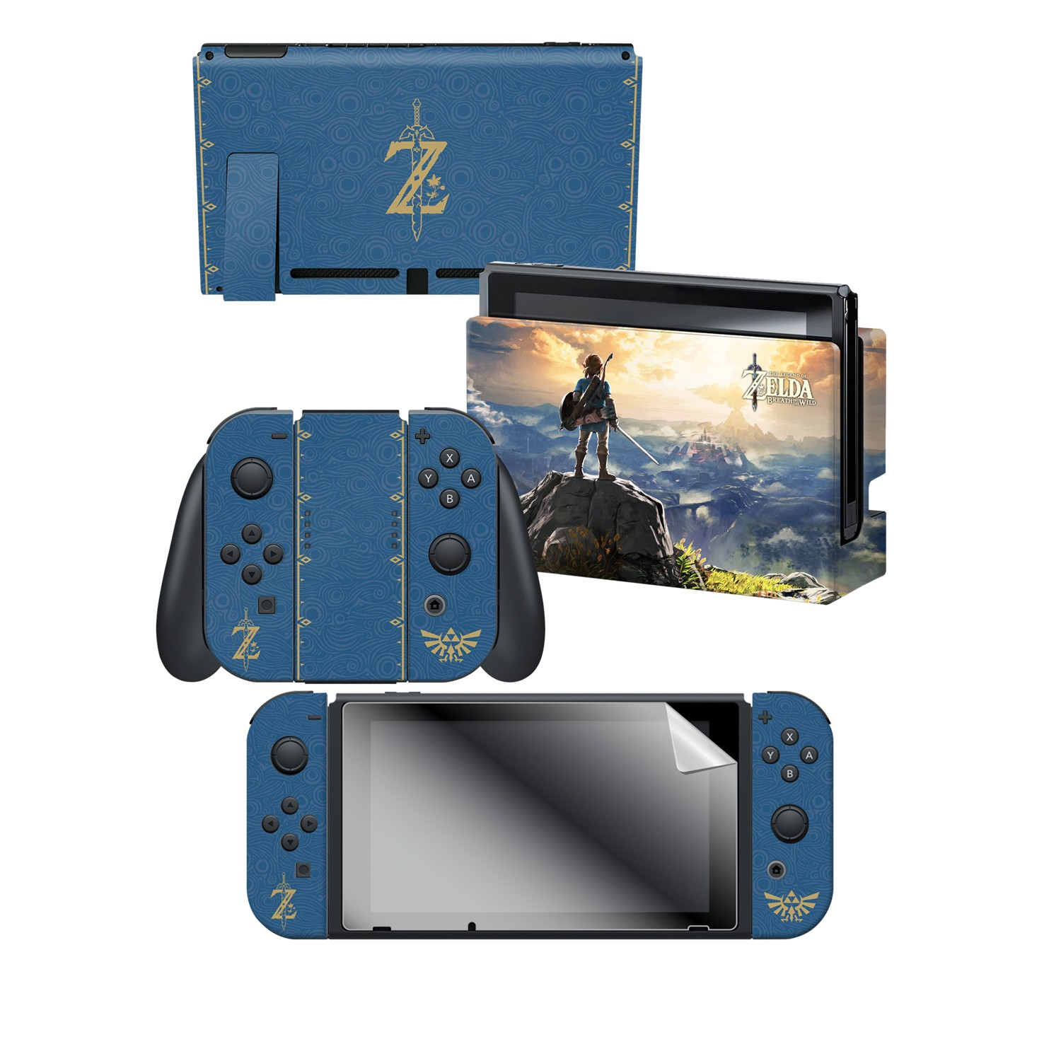 "The Legends of Zelda™: BotW ""The Legends of Zelda™""  Nintendo Switch™ Console skin + Dock Skin + Joy-Con™ skin +  Joy-Con™ Grip Skin + Screen Protector Bundle Assortment"