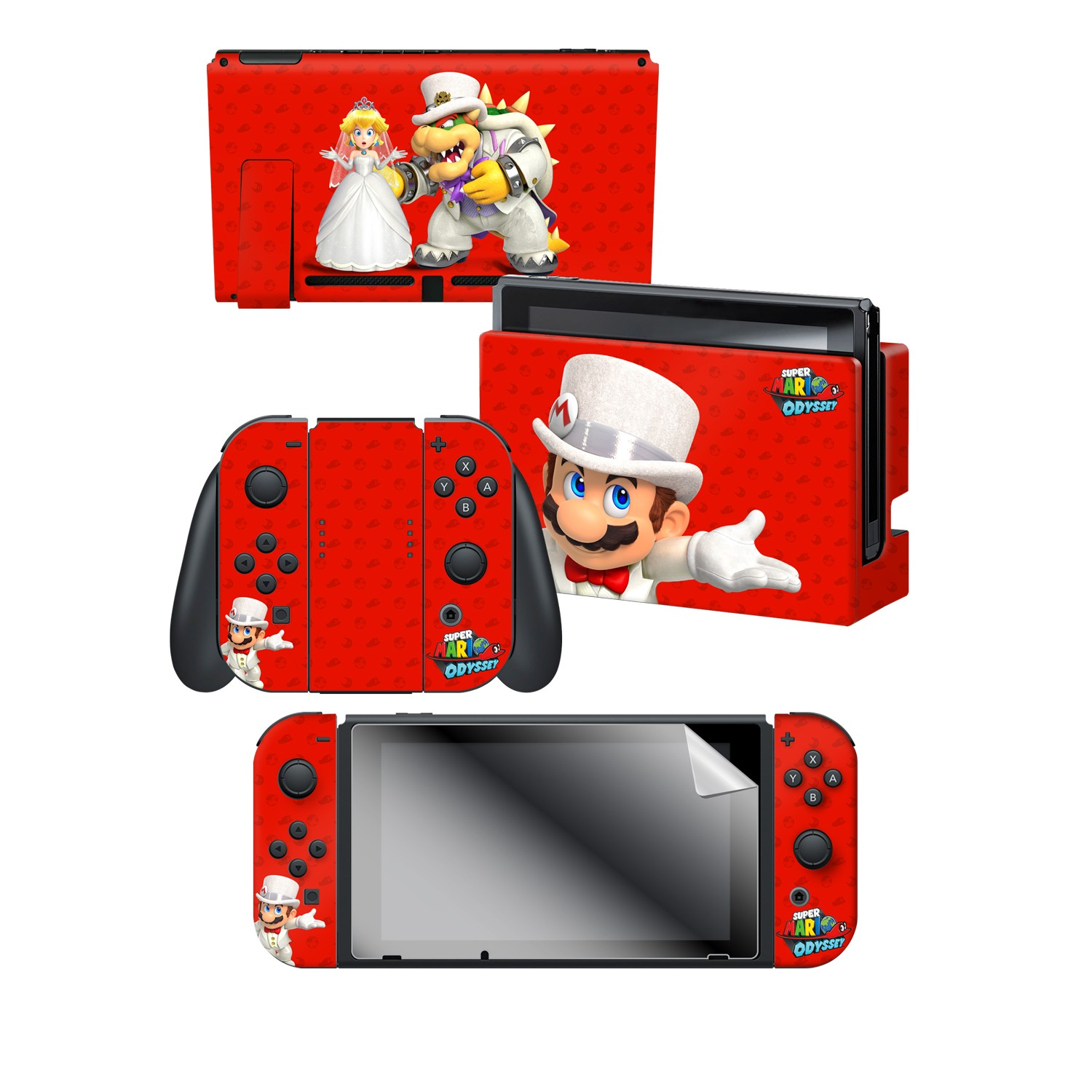 "Super Mario Odyssey™ ""Wedding"" Nintendo Switch™ Console skin + Dock Skin + Joy-Con™ skin + Joy-Con™ Grip Skin + Screen Protector Bundle Assortment"