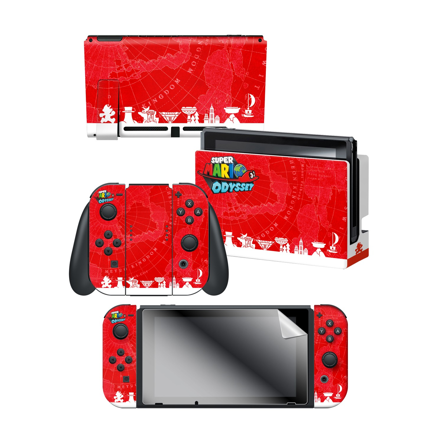 Super Mario Odyssey Globetrotter Nintendo Switch Console Skin Dock Skin Joy Con Skin Joy Con Grip Skin Screen Protector Bundle