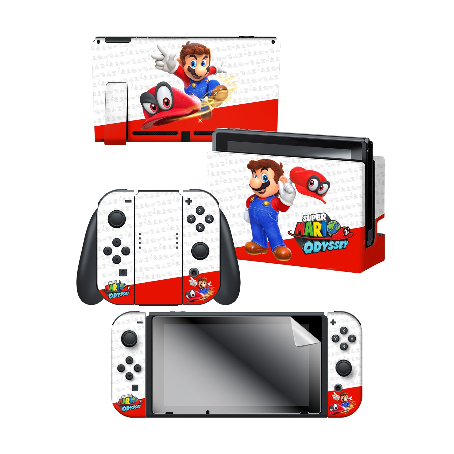 "Super Mario Odyssey™ ""Odyssey"" Nintendo Switch™ Console skin + Dock Skin + Joy-Con™ skin + Joy-Con™ Grip Skin + Screen Protector Bundle Assortment"