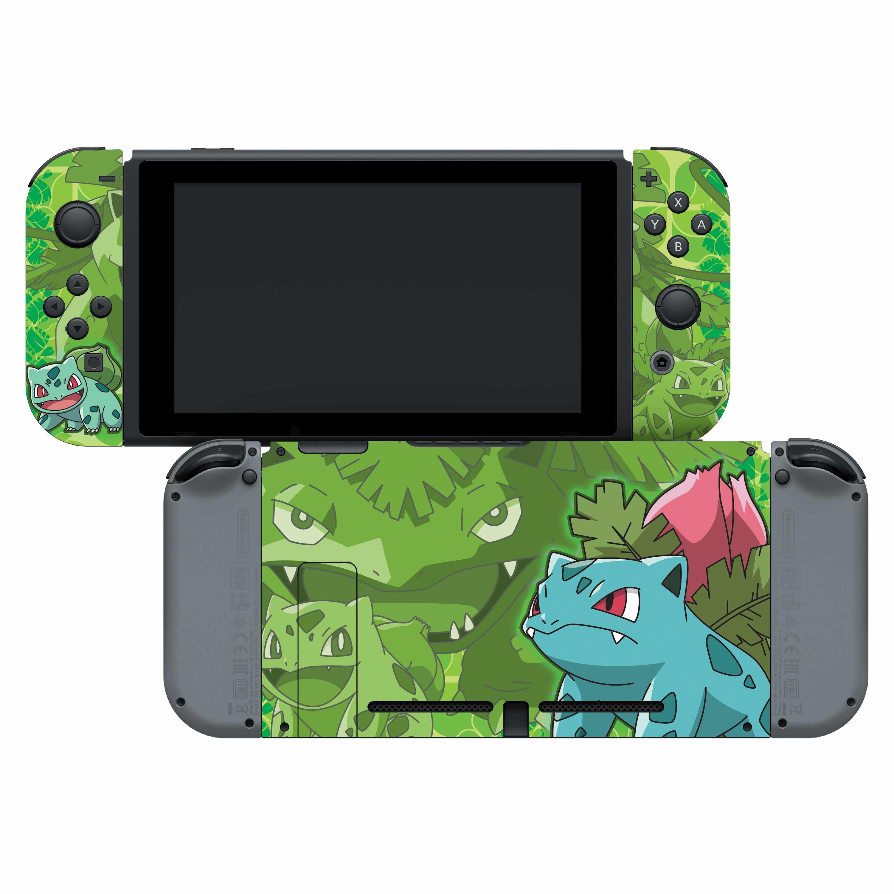 Nintendo Switch Skin & Screen Protector Set with a Pokemon Bulbasaur Evolutions Design, Image 1