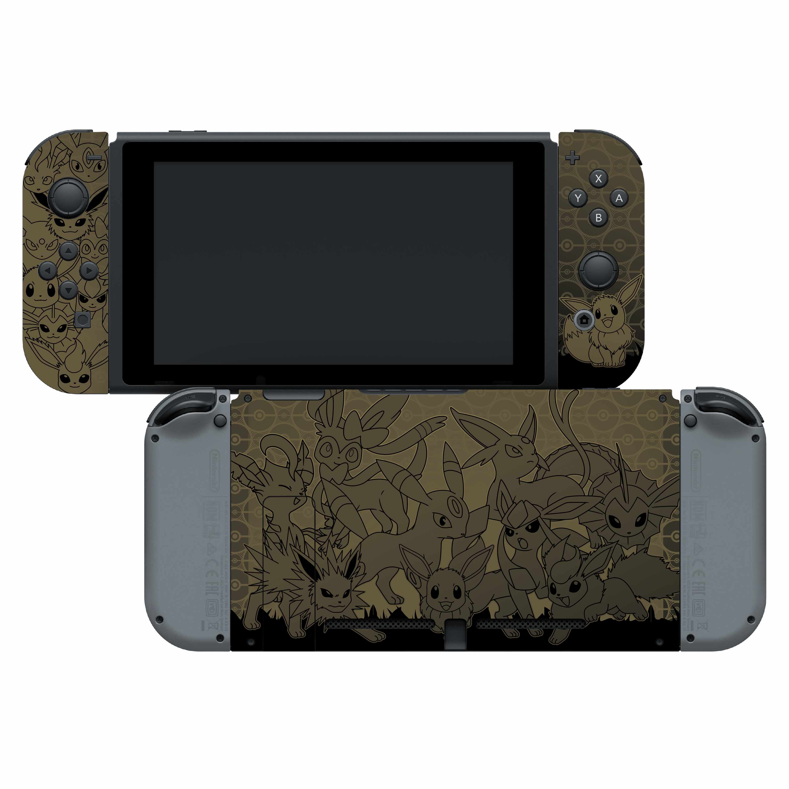 Nintendo Switch Skin & Screen Protector Set with a Pokemon Eevee Evolutions Design, Image 1